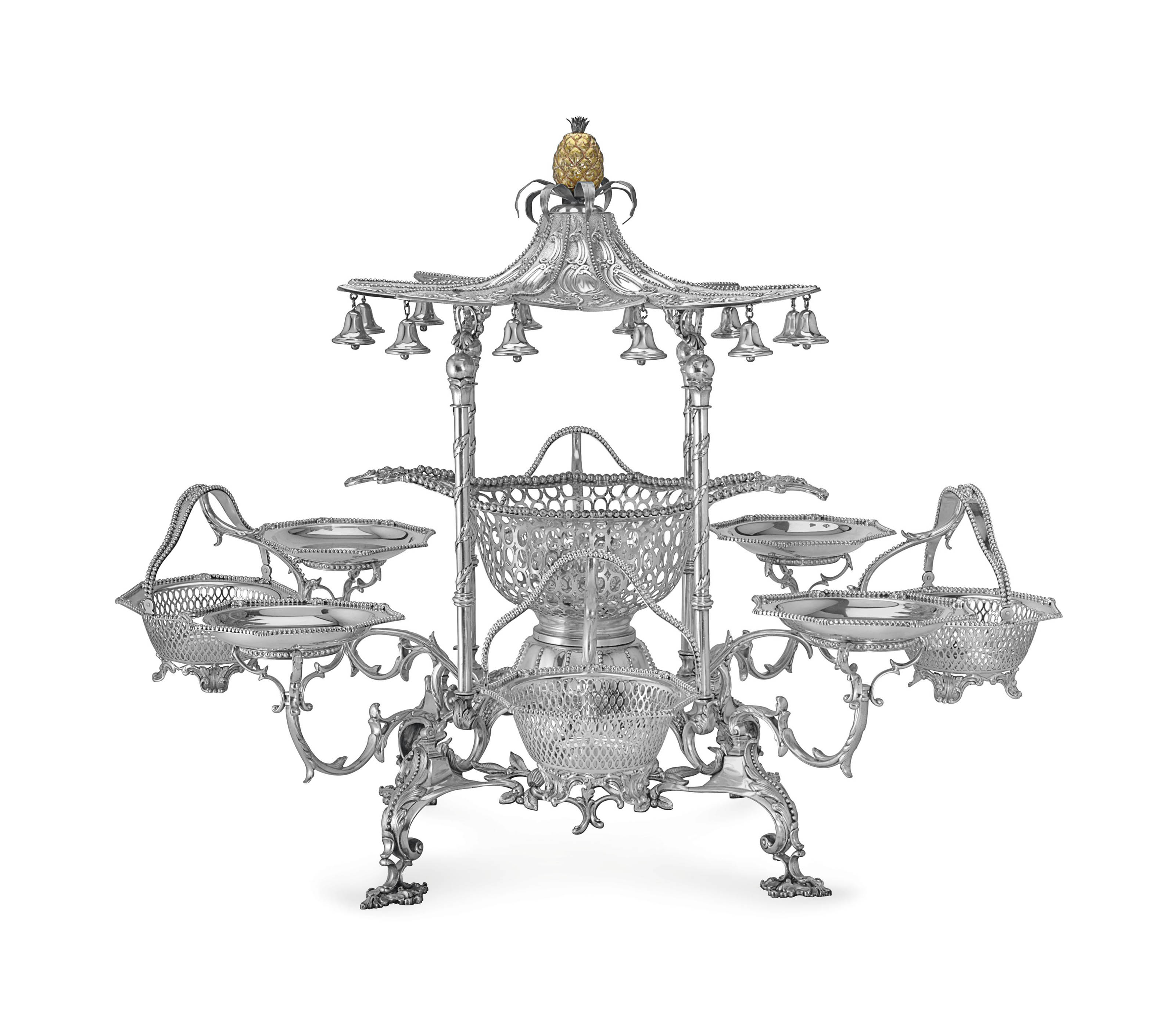 A MONUMENTAL PORTUGUESE SILVER EIGHT-BRANCH EPERGNE