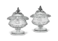 A PAIR OF GEORGE IV SILVER COVERED POTS