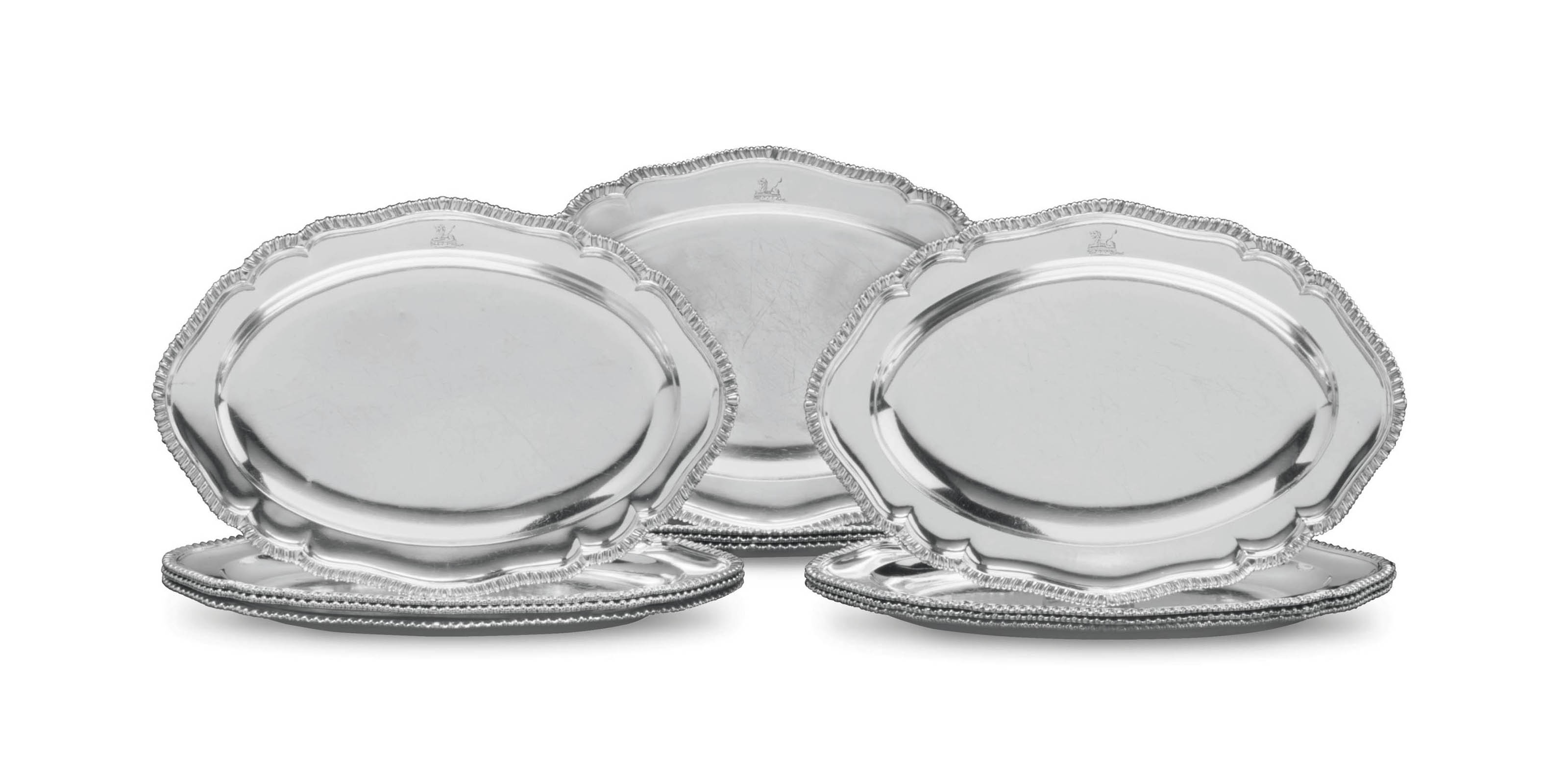 A SET OF TWELVE GEORGE III SILVER MEAT DISHES