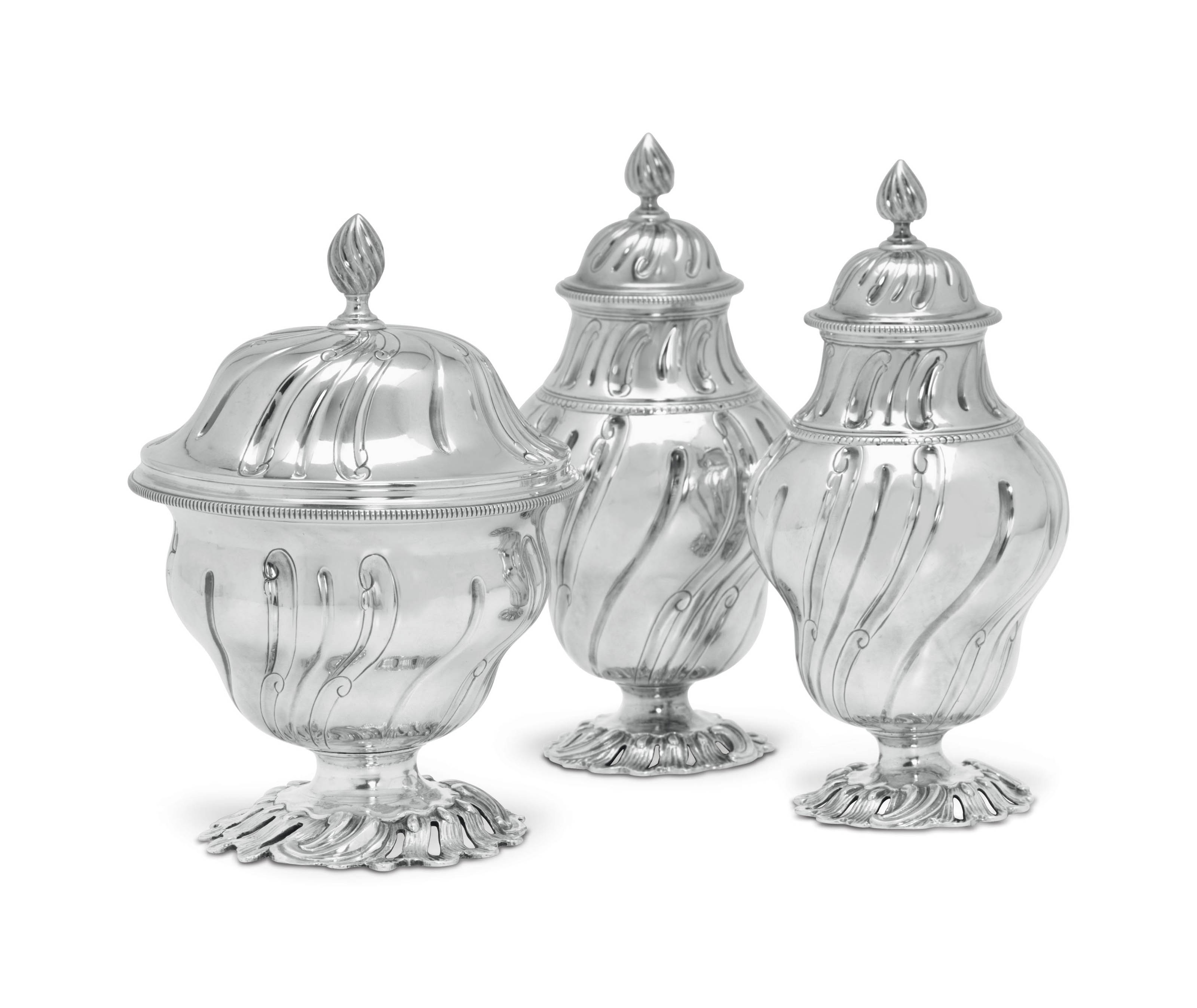 A GEORGE II SILVER SUGAR BOWL AND A PAIR OF TEA CADDIES