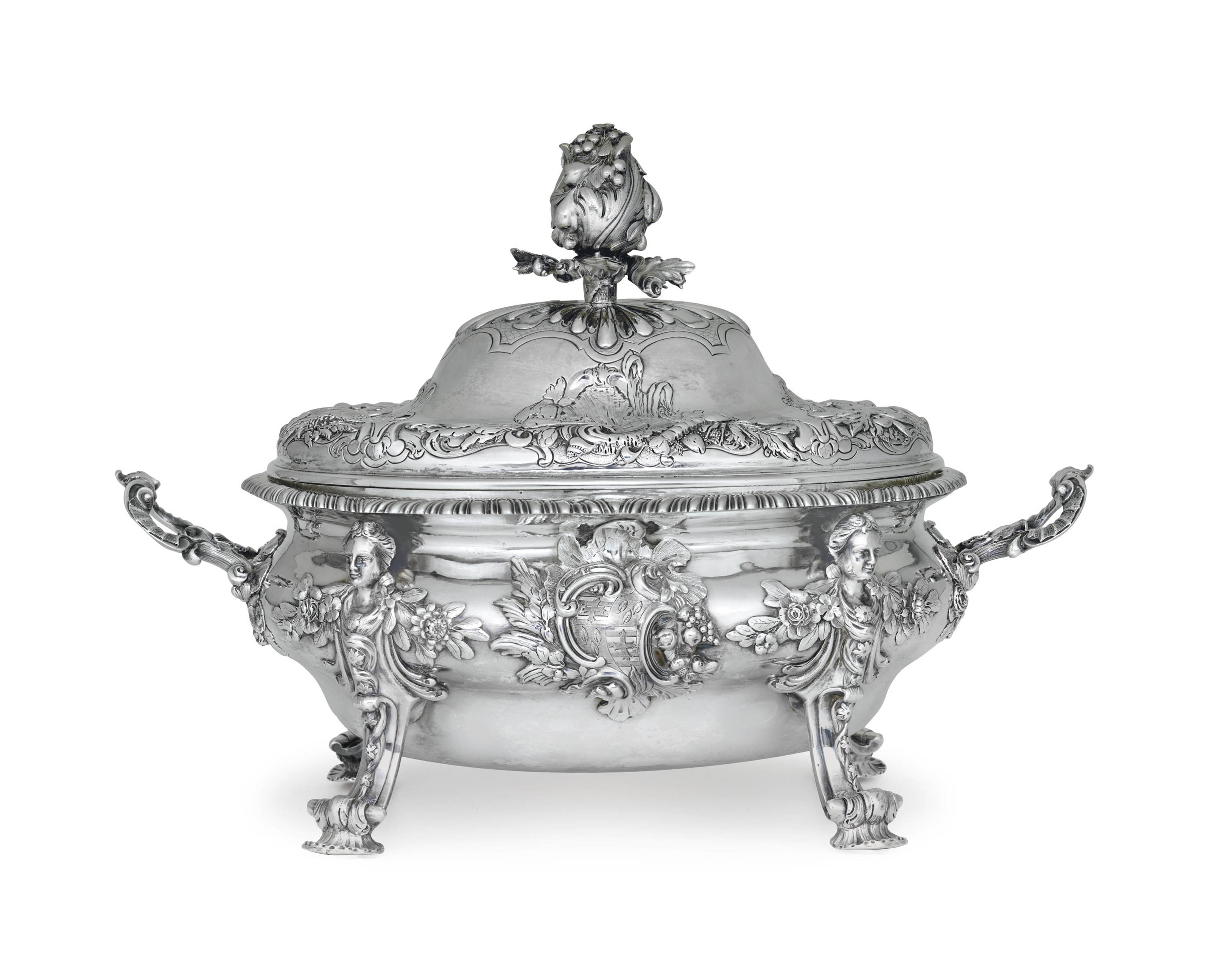 A GEORGE II SILVER SOUP TUREEN AND COVER