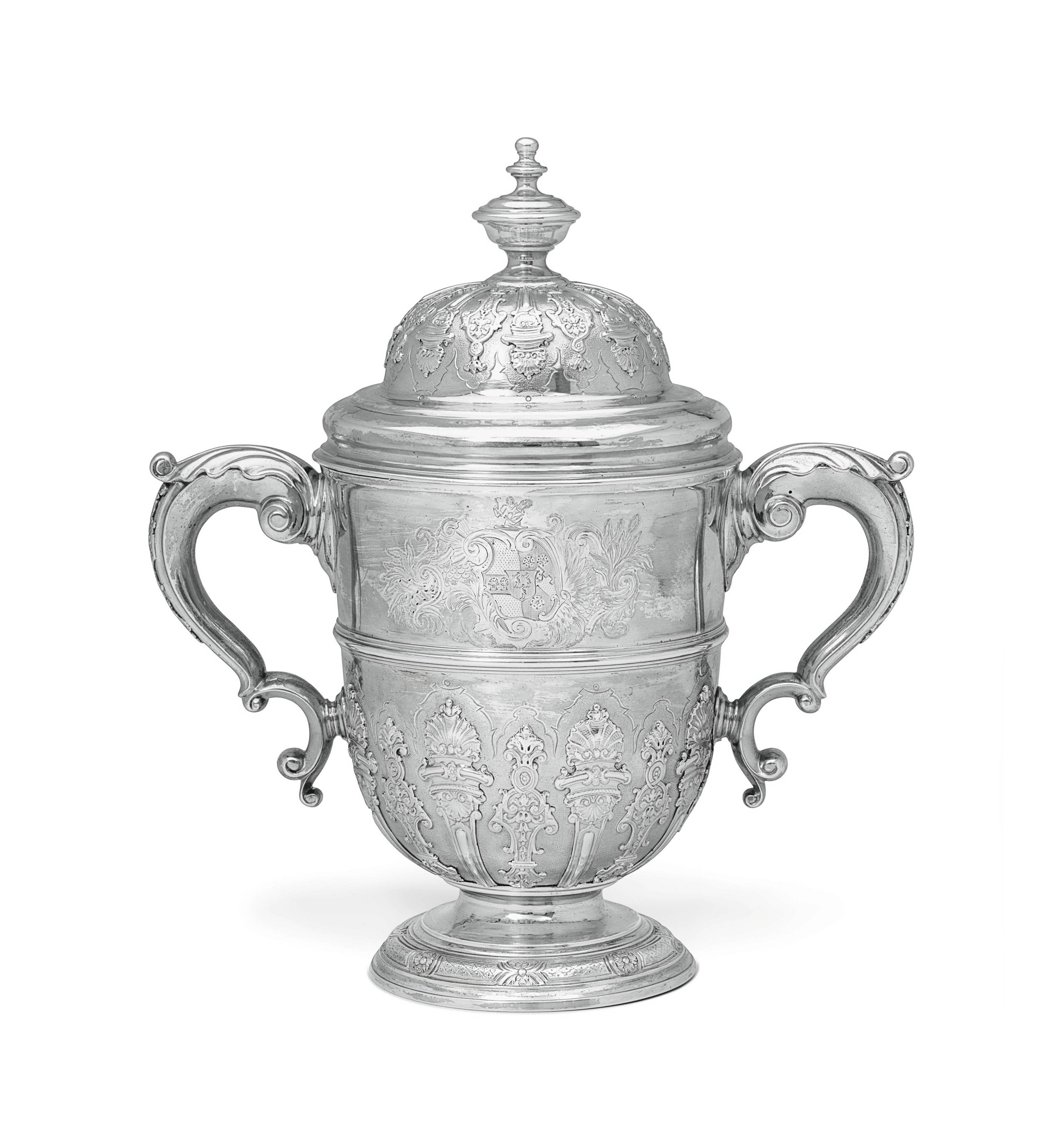 A FINE GEORGE II SILVER CUP AND COVER