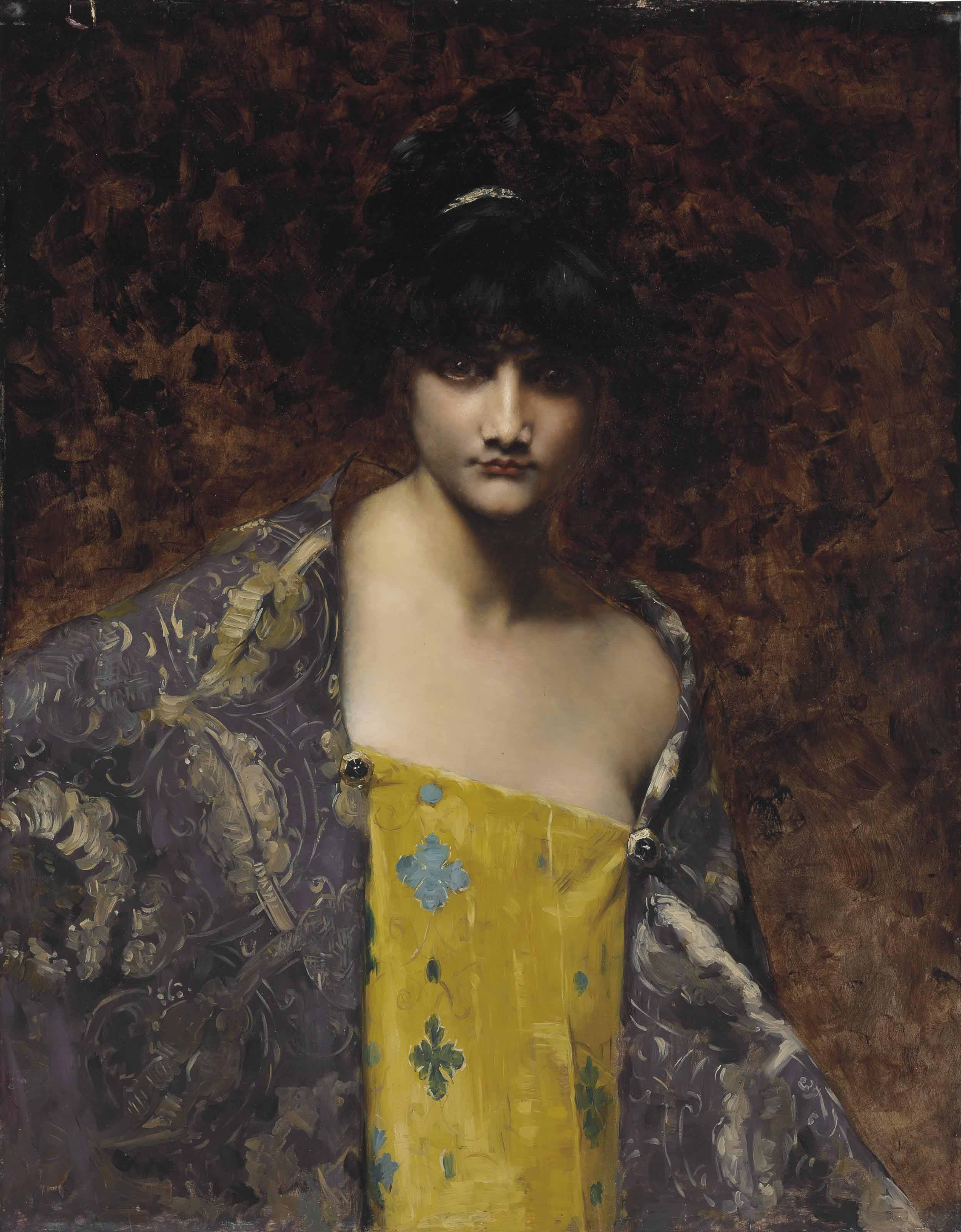 Juana Romani (Italian, 1869-1924) | A Dark-Haired Beauty ...