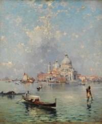 Gondolas in front of the Santa Maria della Salute, Venice
