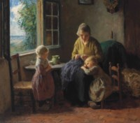 Young Mother and Children in an Interior