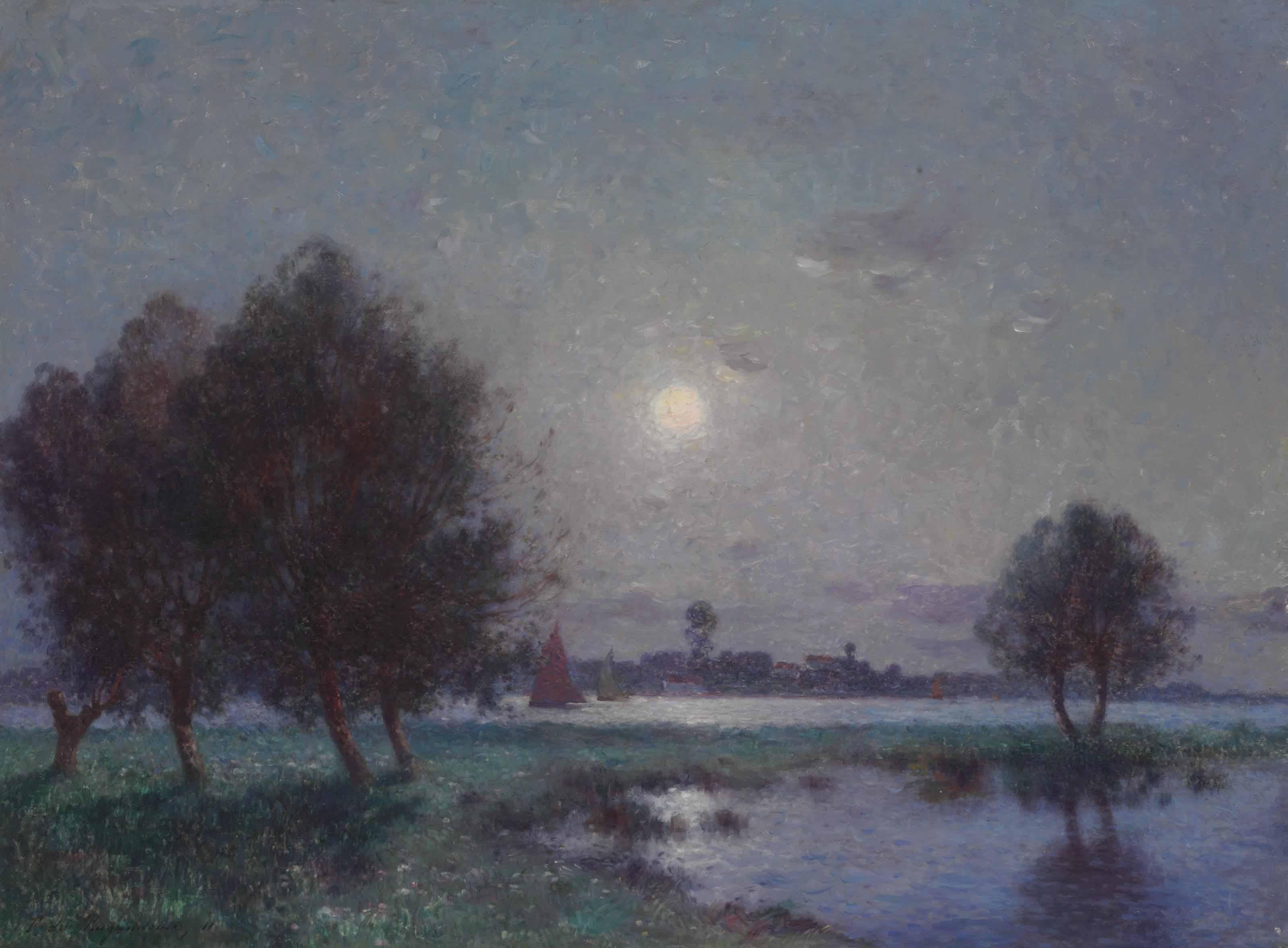 Bord de Loire au clair de lune