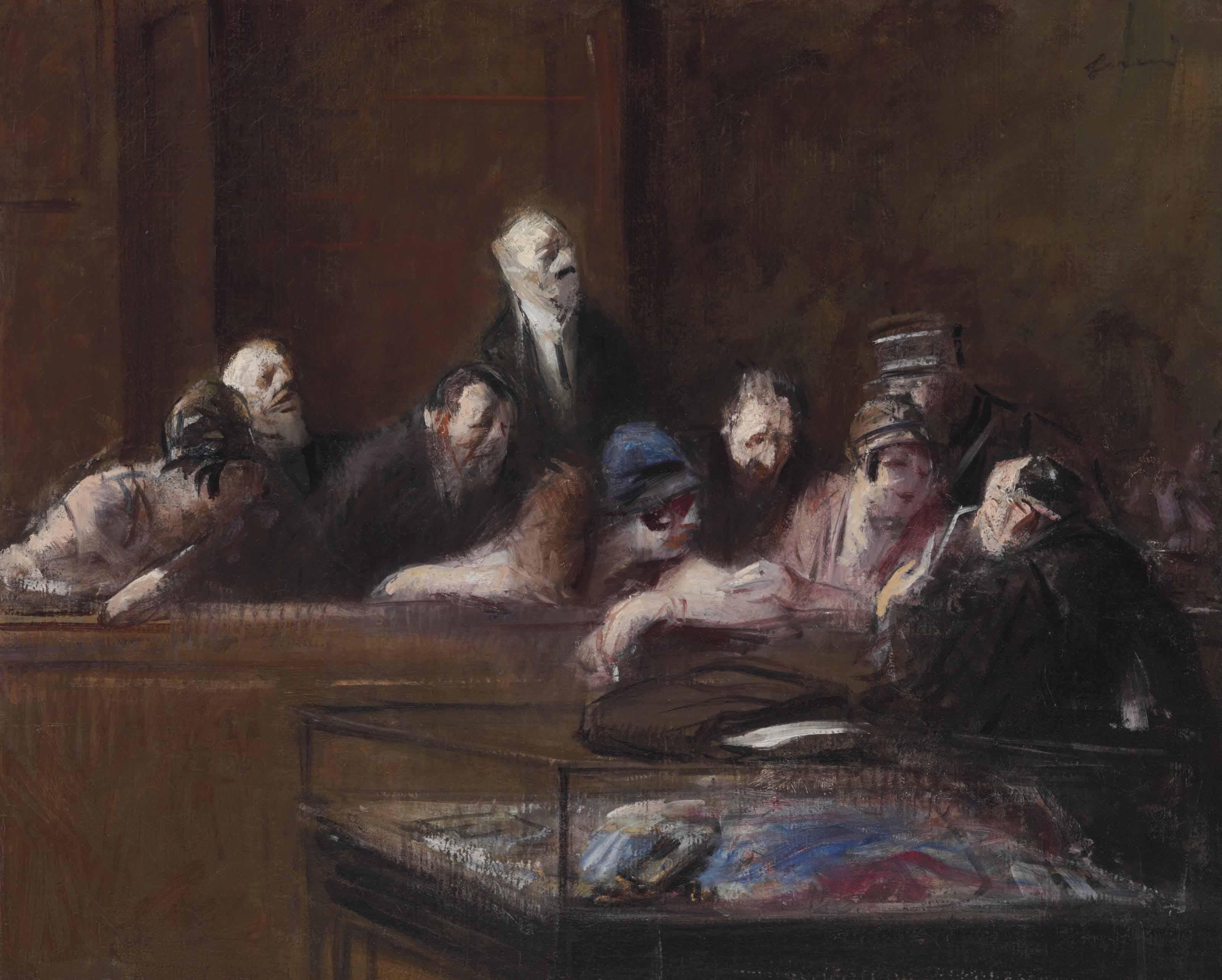 Scène de tribunal, pièces à conviction