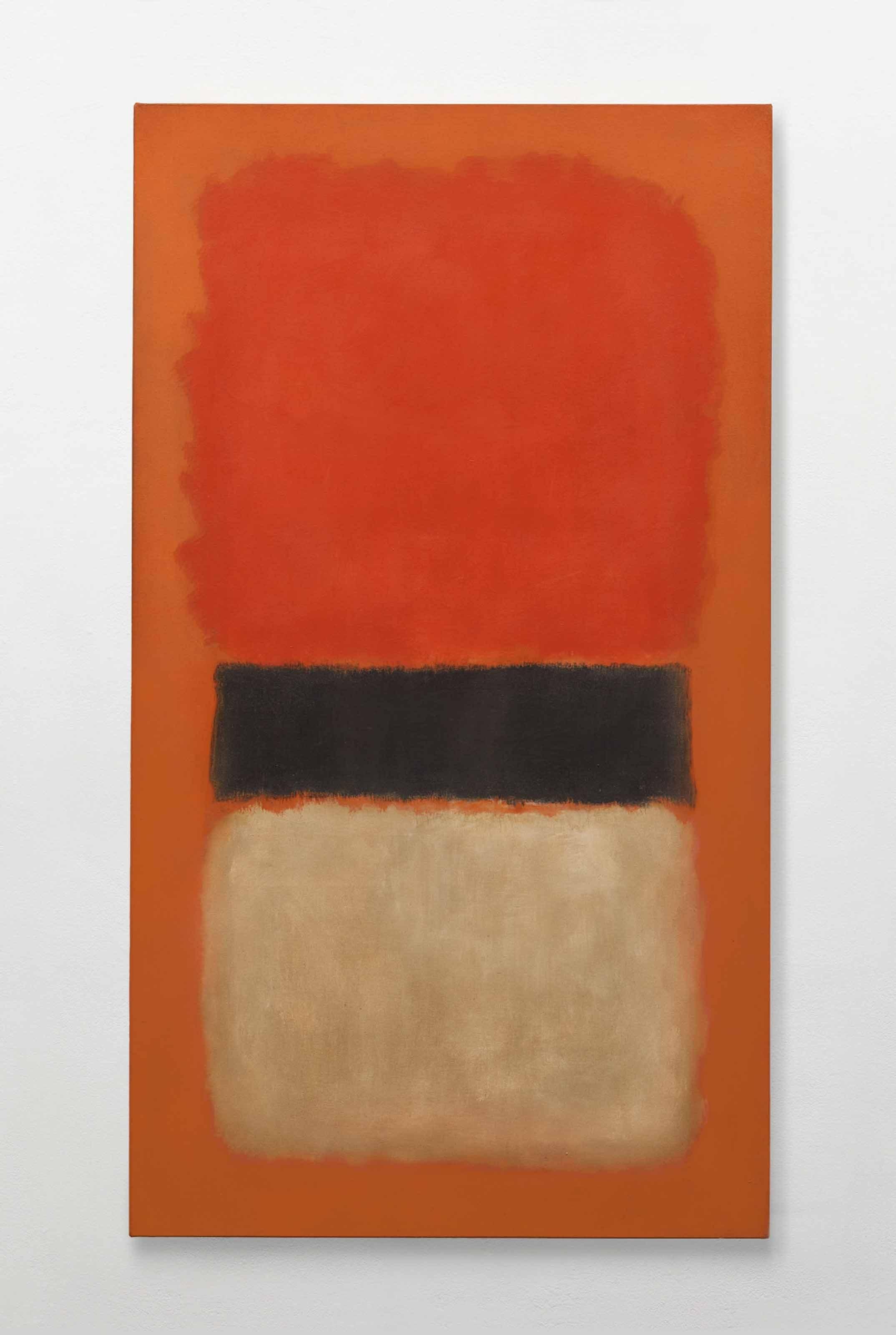 马克·罗斯科,《黑色条纹(橘色、金色和黑色)》,1957年作,173.1 x 97.5公分。2012年11月14日在佳士得纽约以21,362,500美元成交。 © 1998 Kate Rothko Prizel & Christopher Rothko ARS, NY and DACS, London