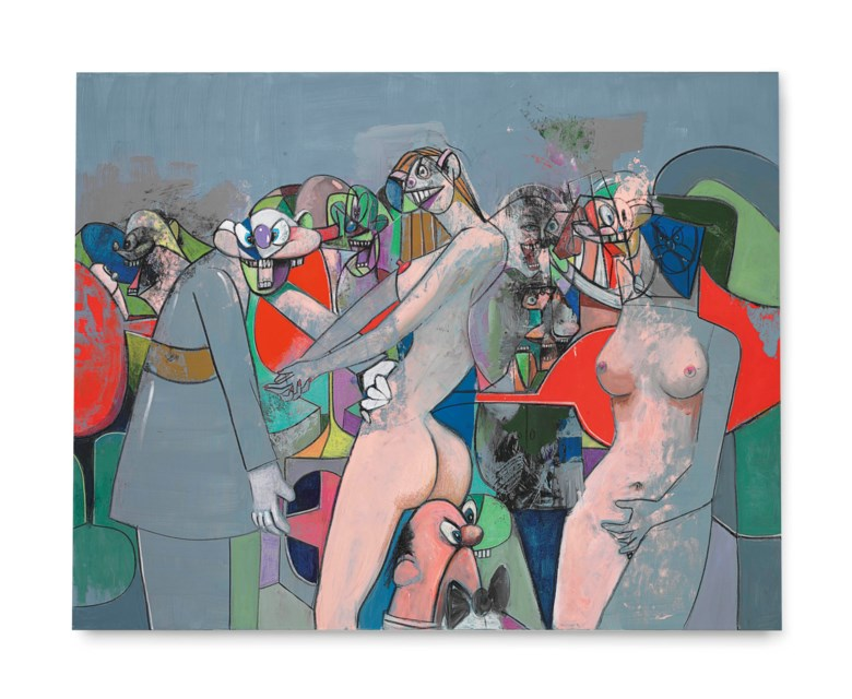 George Condo (b. 1957), The Manhattan Strip Club, 2010. Acrylic, charcoal and pastel on canvas. 75 x 95  in (190.5 x 241.3  cm). Sold for $1,314,500 on 14 November 2012 at Christie's in New York © ARS, NY and DACS, London 2018
