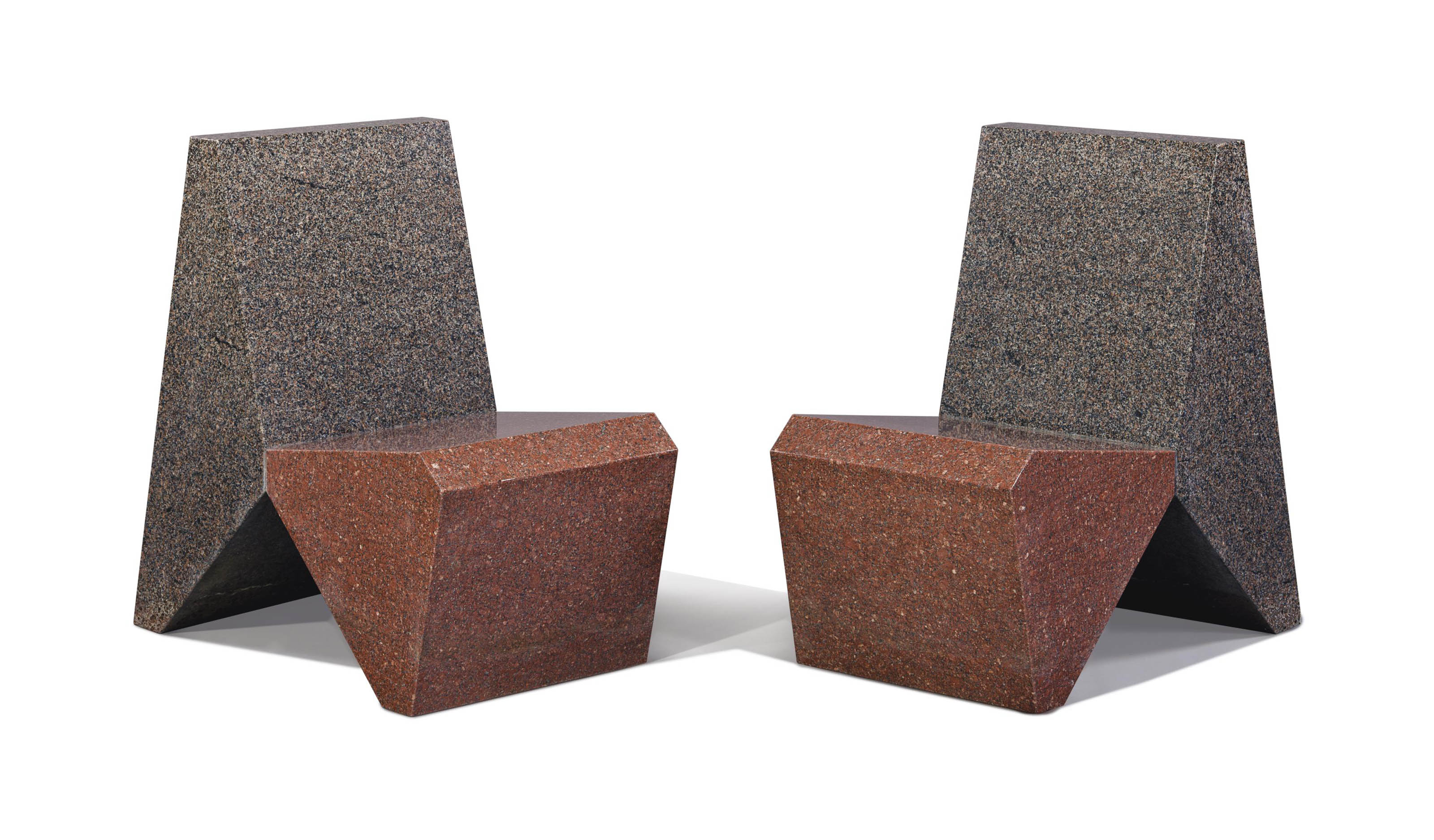 A Pair of Two Granite Chairs
