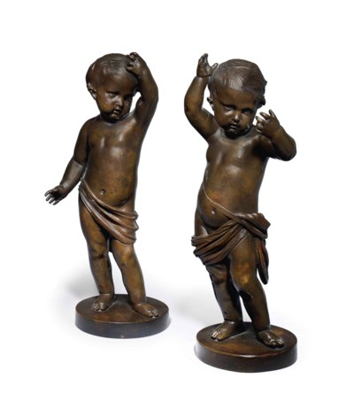 A PAIR OF FRENCH FIGURAL BRONZ