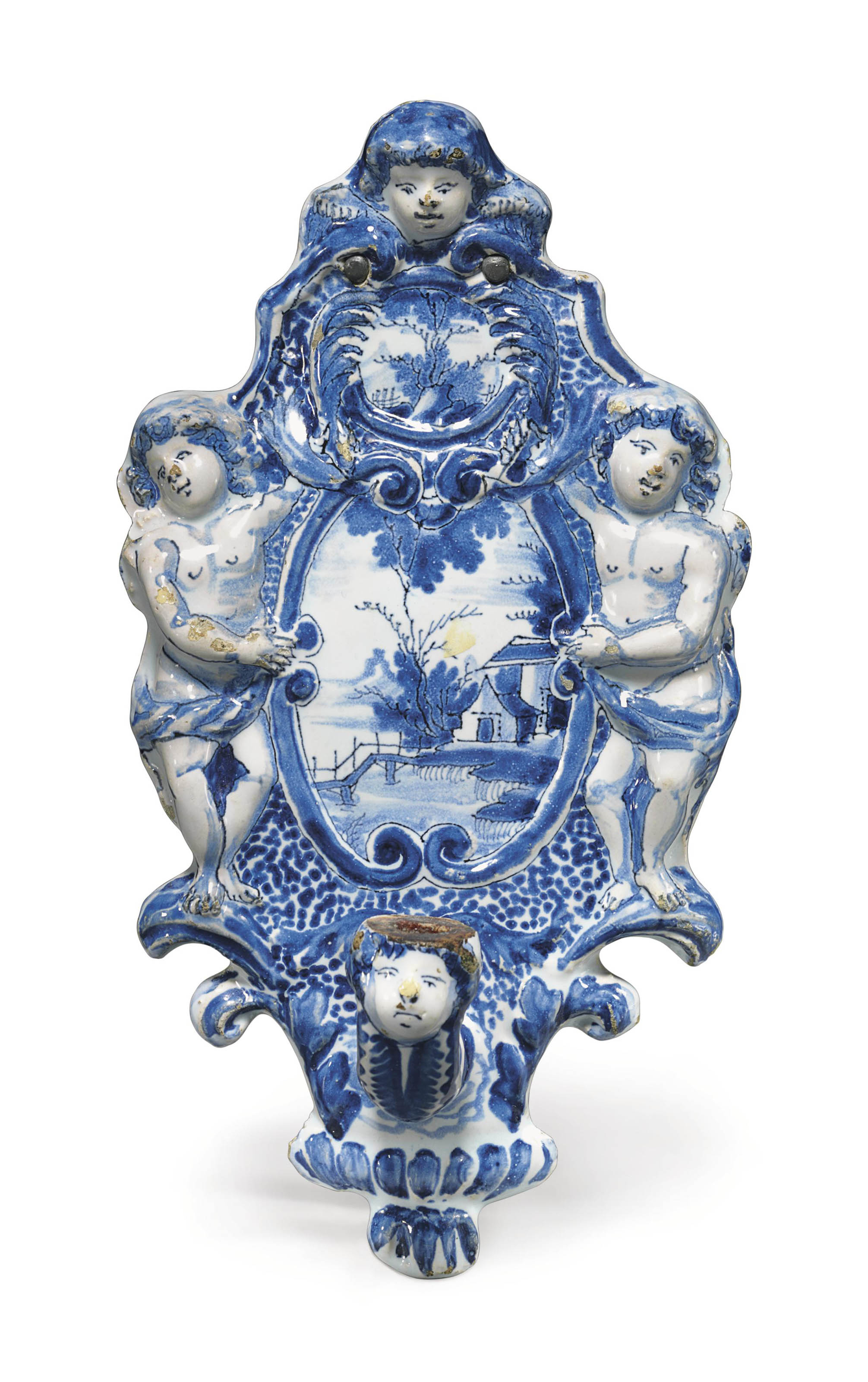 A Dutch Delft Blue And White Wall Sconce Early 18th Century