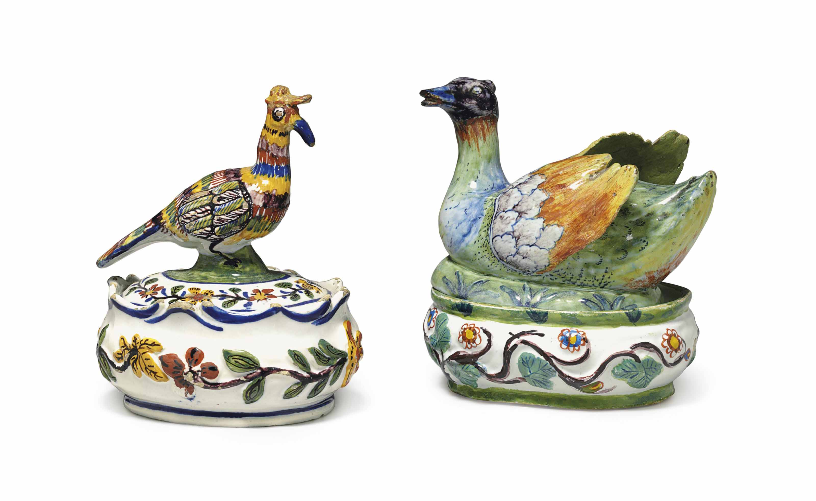 TWO DUTCH DELFT BIRD-FORM BUTT