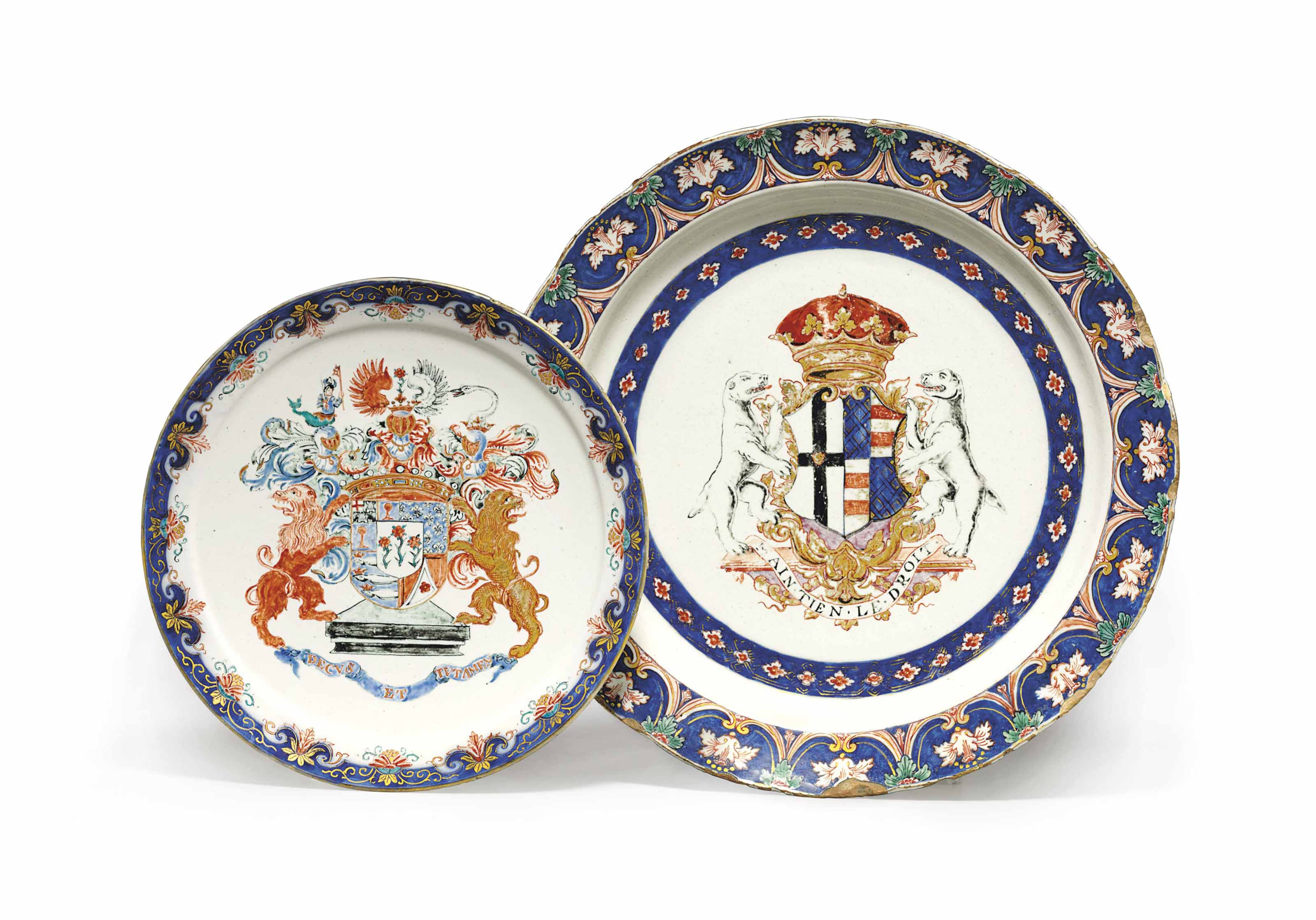 TWO DUTCH DELFT DORE ARMORIAL