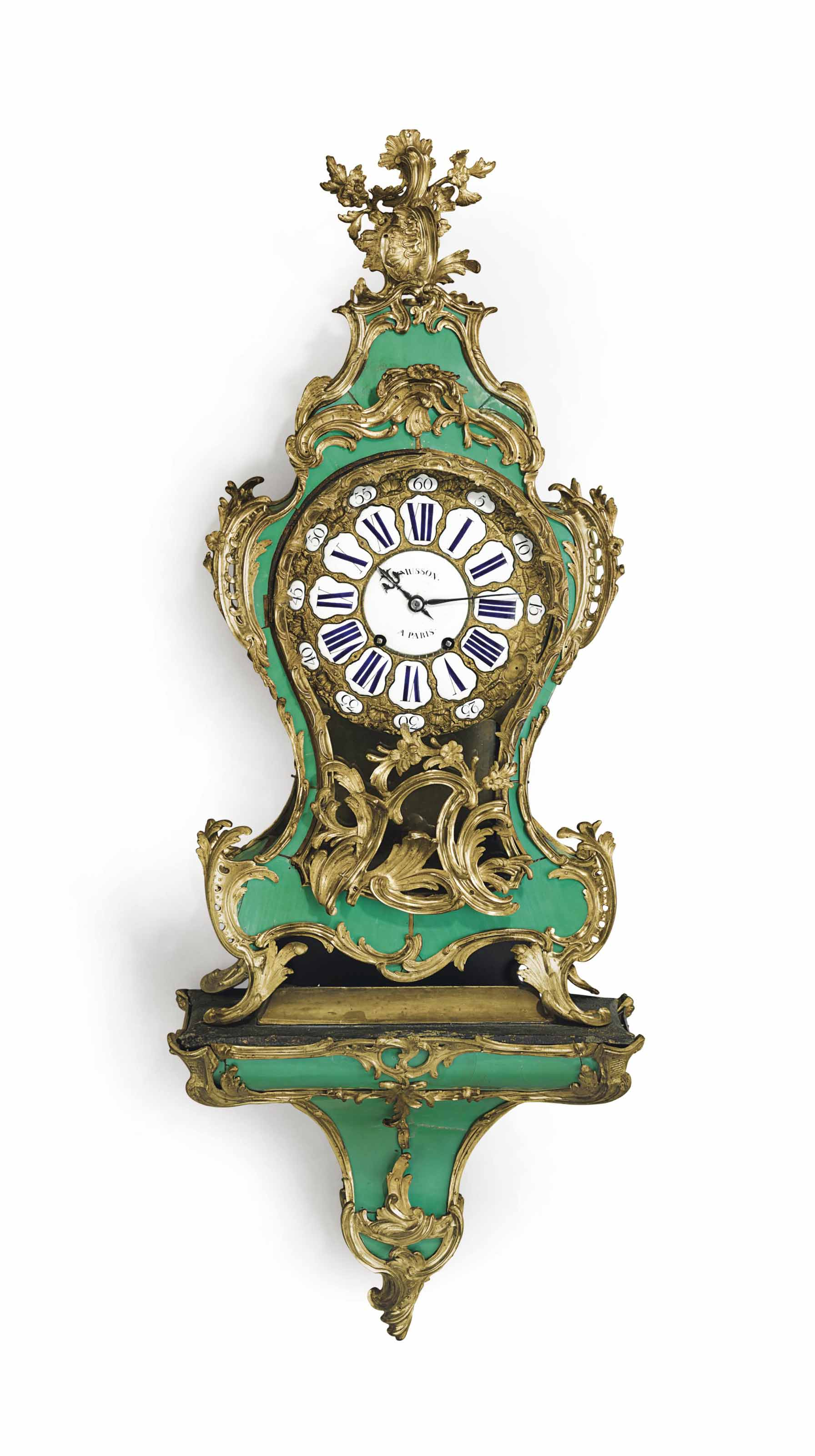 A LOUIS XV GREEN STAINED HORN