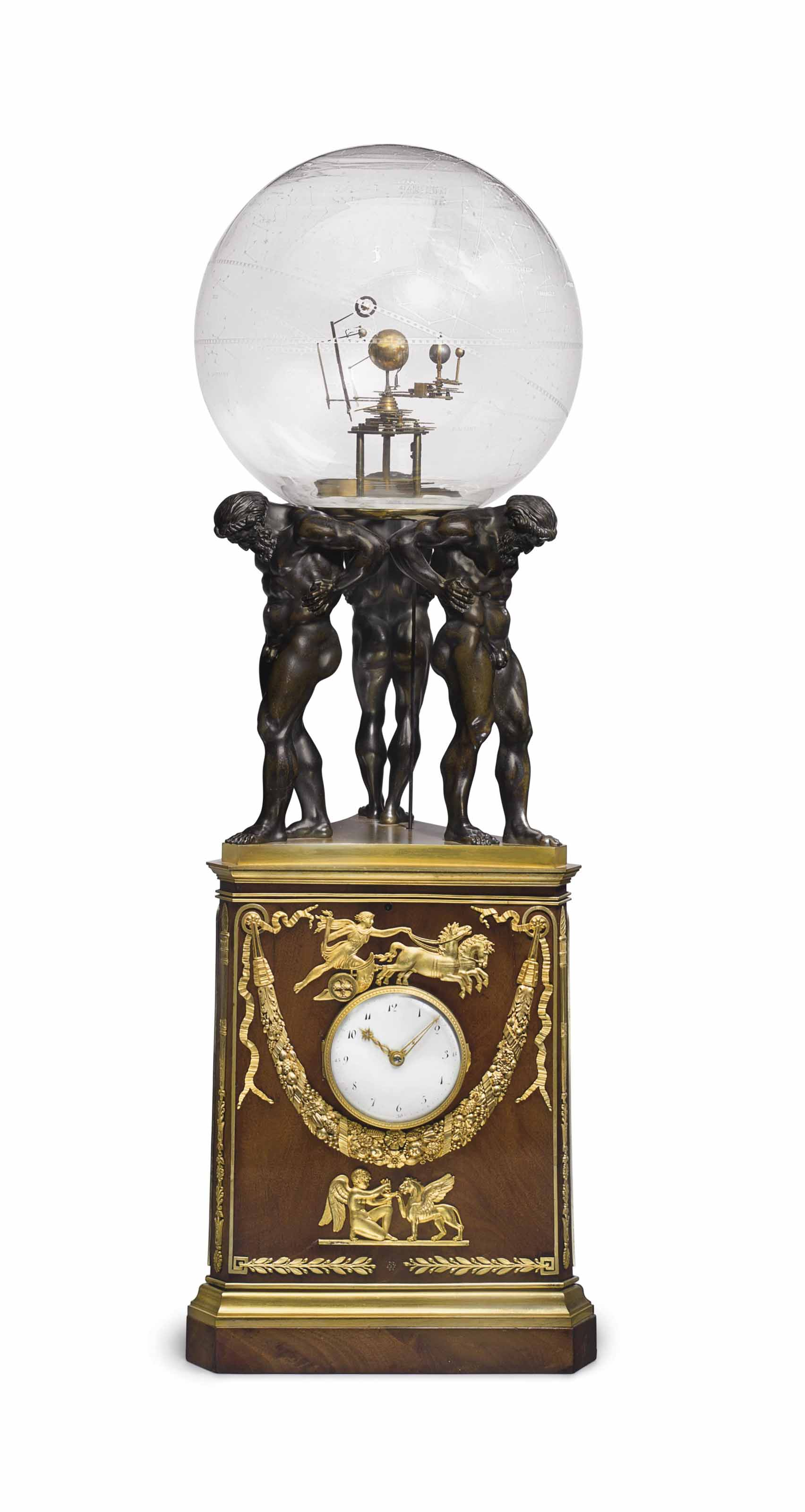 A CONSULAT ORMOLU-MOUNTED MAHOGANY ASTRONOMICAL CLOCK