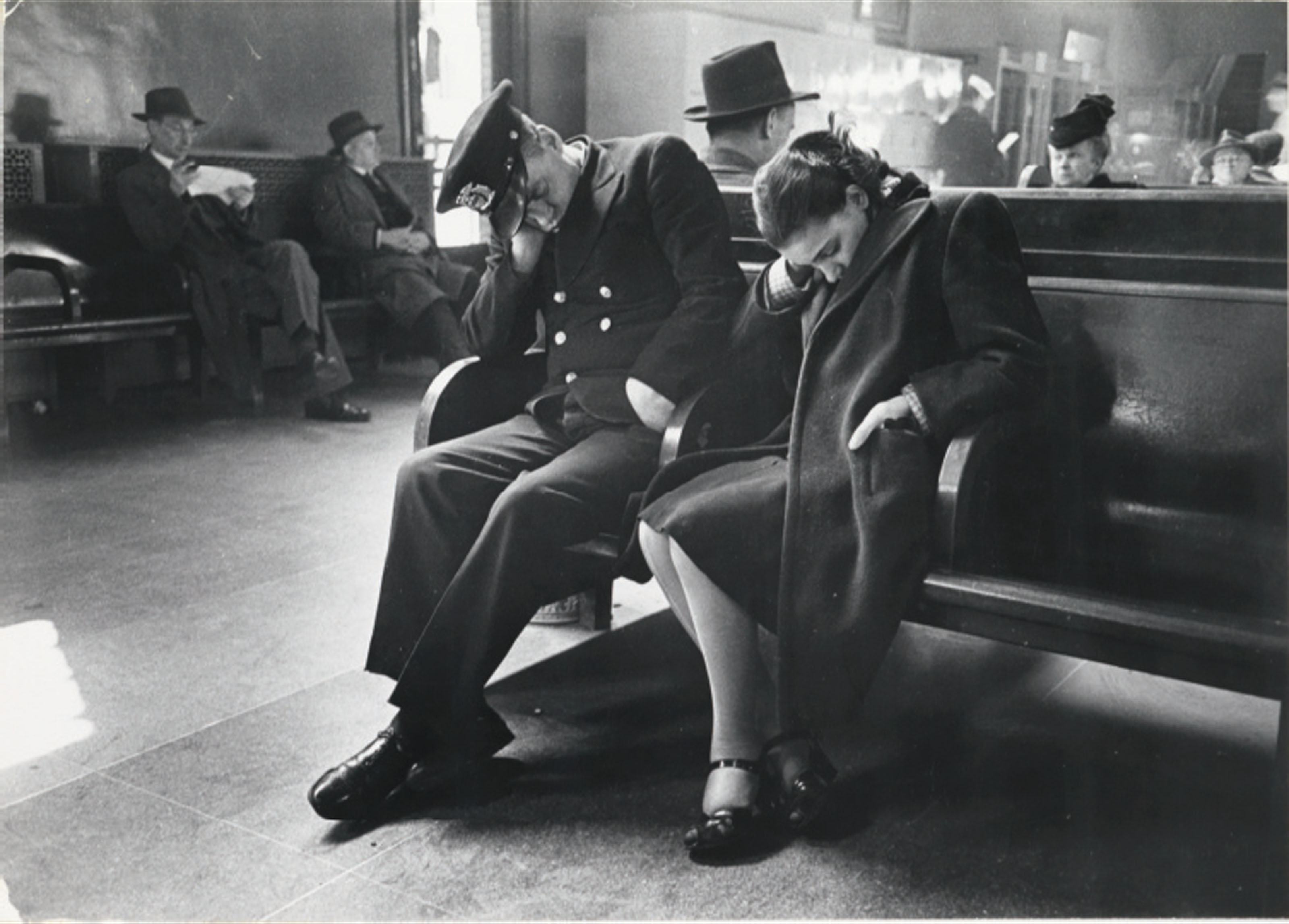 Sleeping Passengers, Greyhound Bus Terminal, New York City, c. 1949