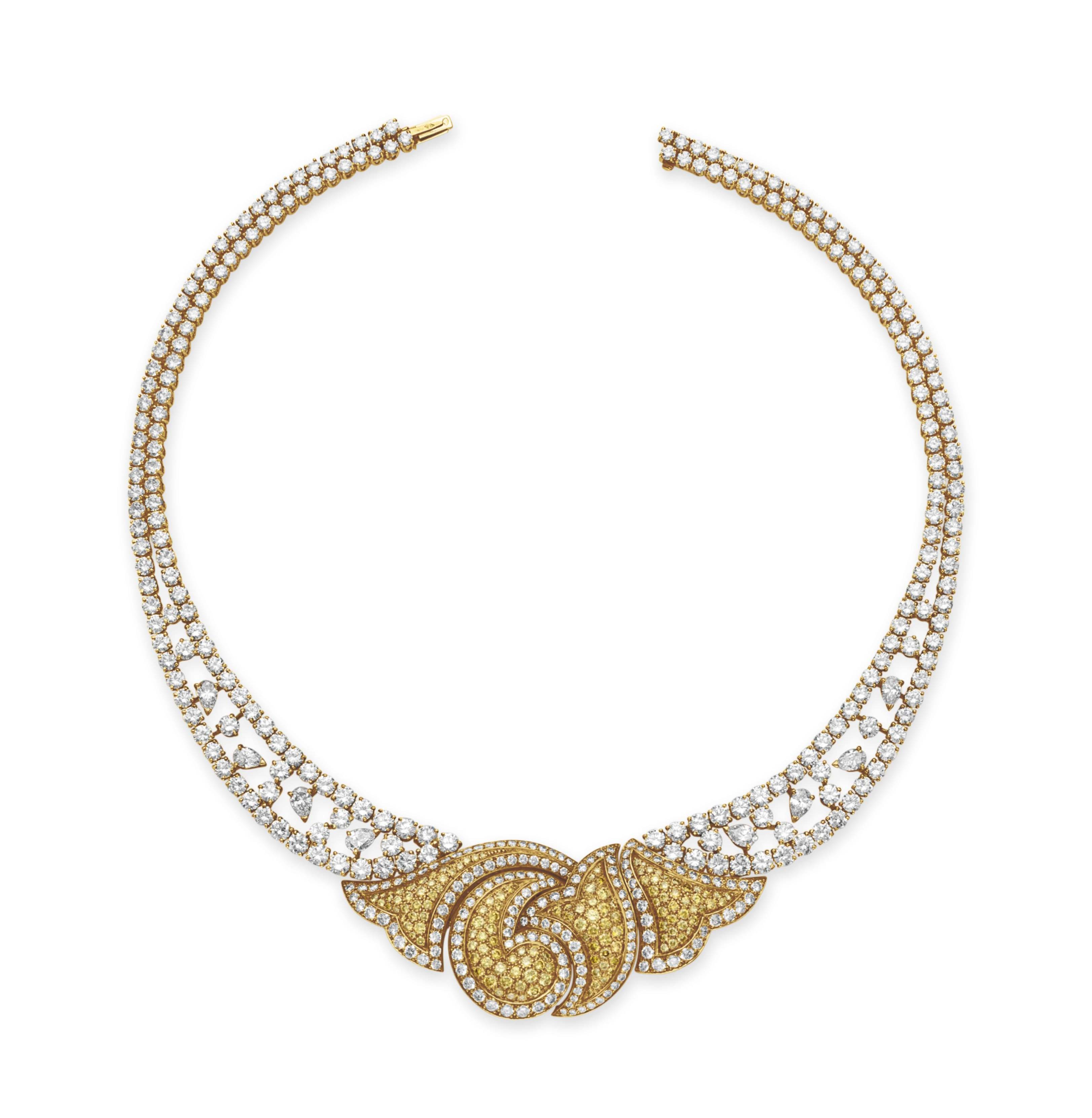 A COLORED DIAMOND AND DIAMOND NECKLACE, BY BOUCHERON