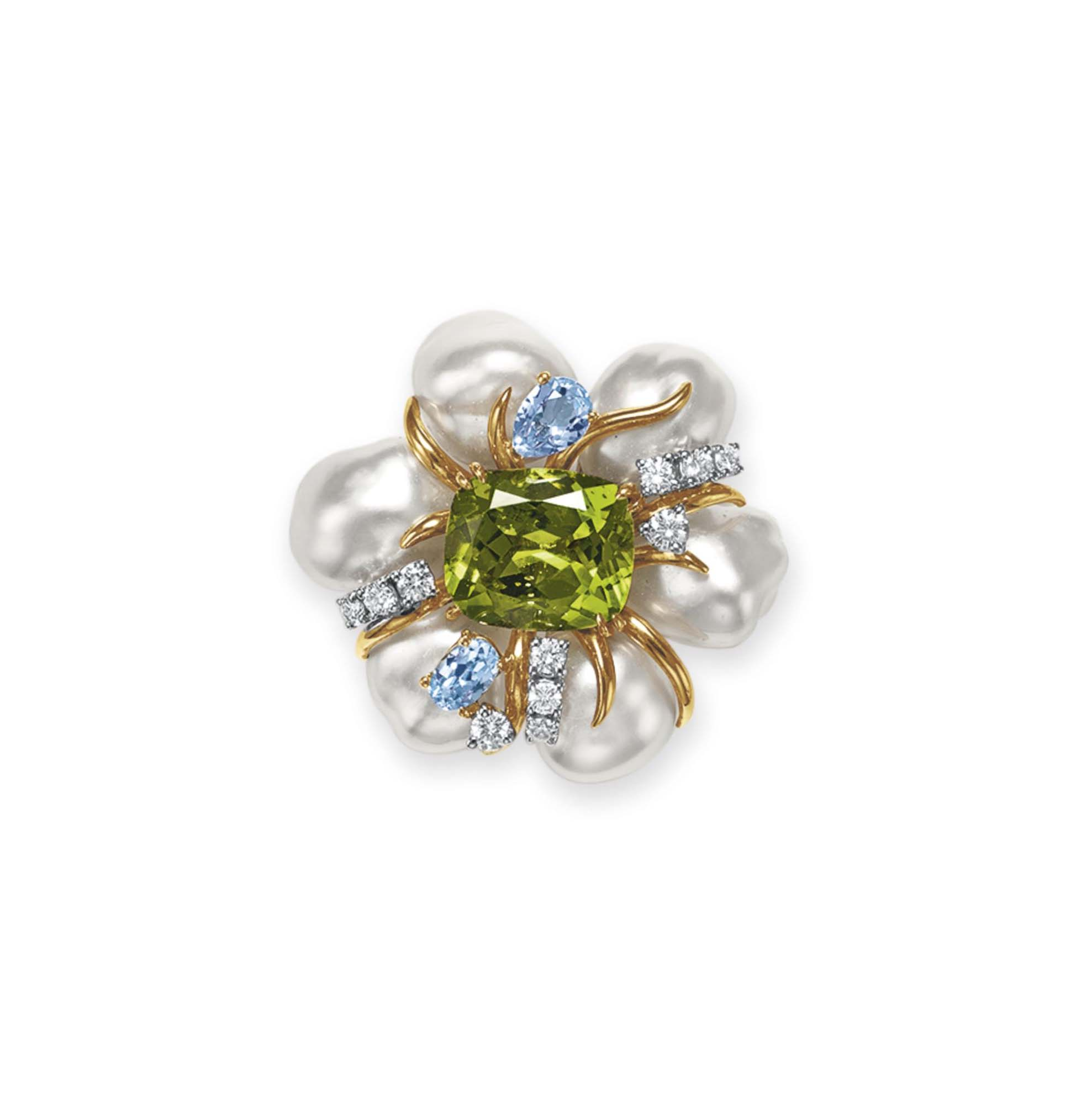 A PERIDOT, CULTURED PEARL AND
