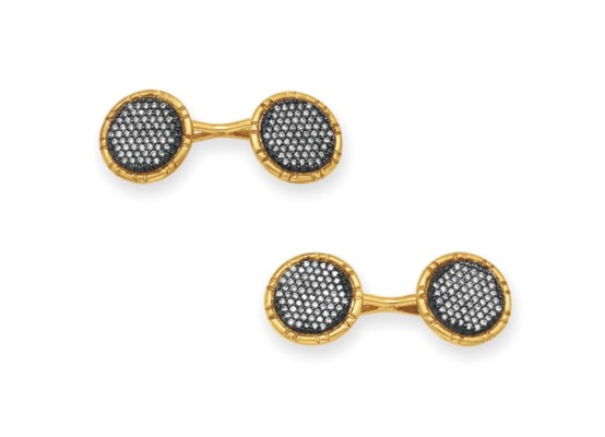 A PAIR OF DIAMOND AND GOLD CUF