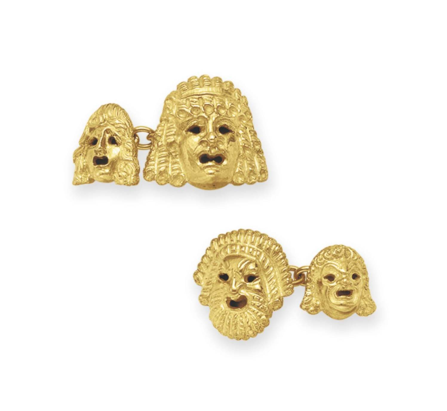 A PAIR OF GOLD CUFFLINKS, BY B