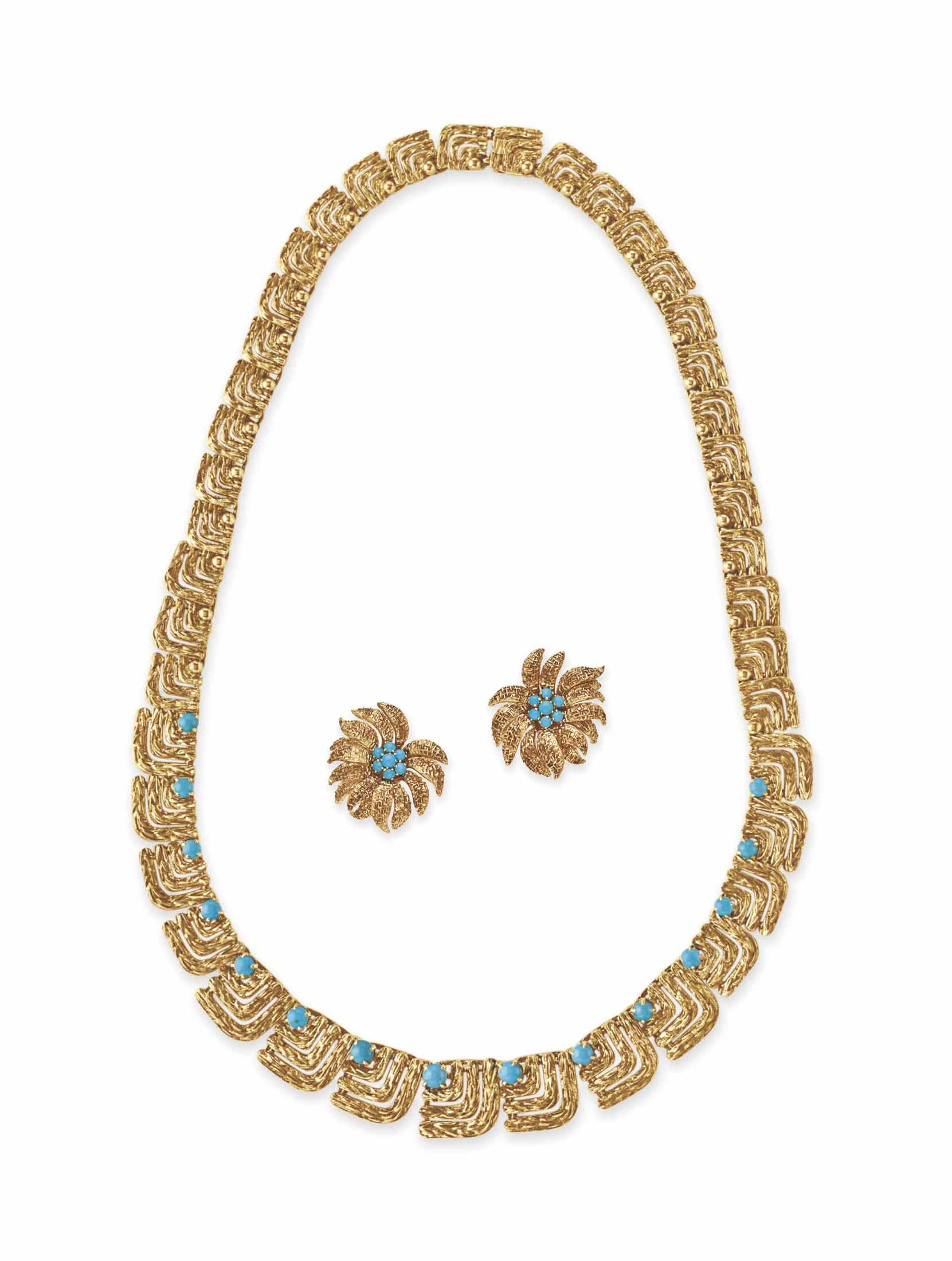 A SET OF TURQUOISE AND GOLD JE