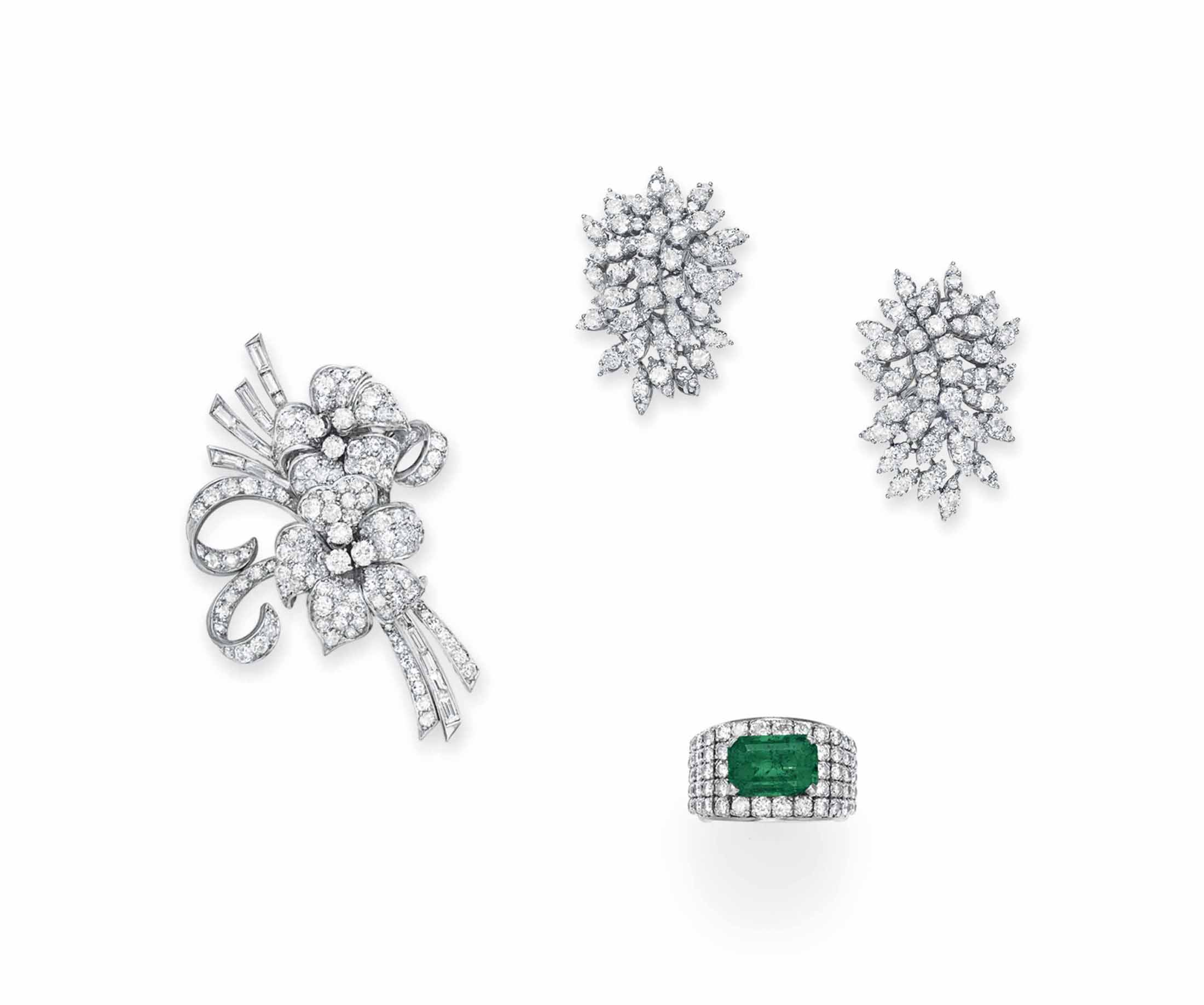 A GROUP OF DIAMOND AND EMERALD