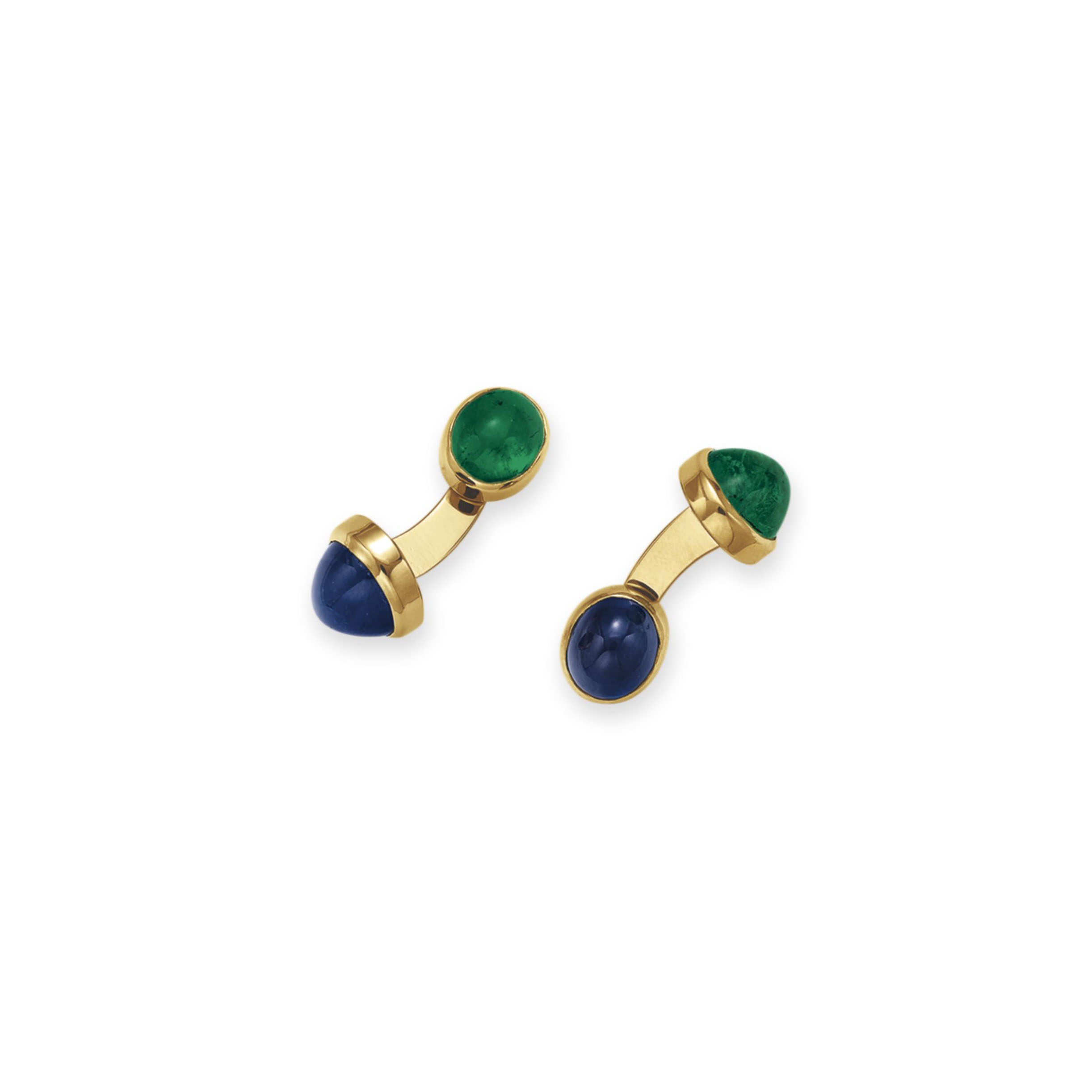 A PAIR OF SAPPHIRE AND EMERALD
