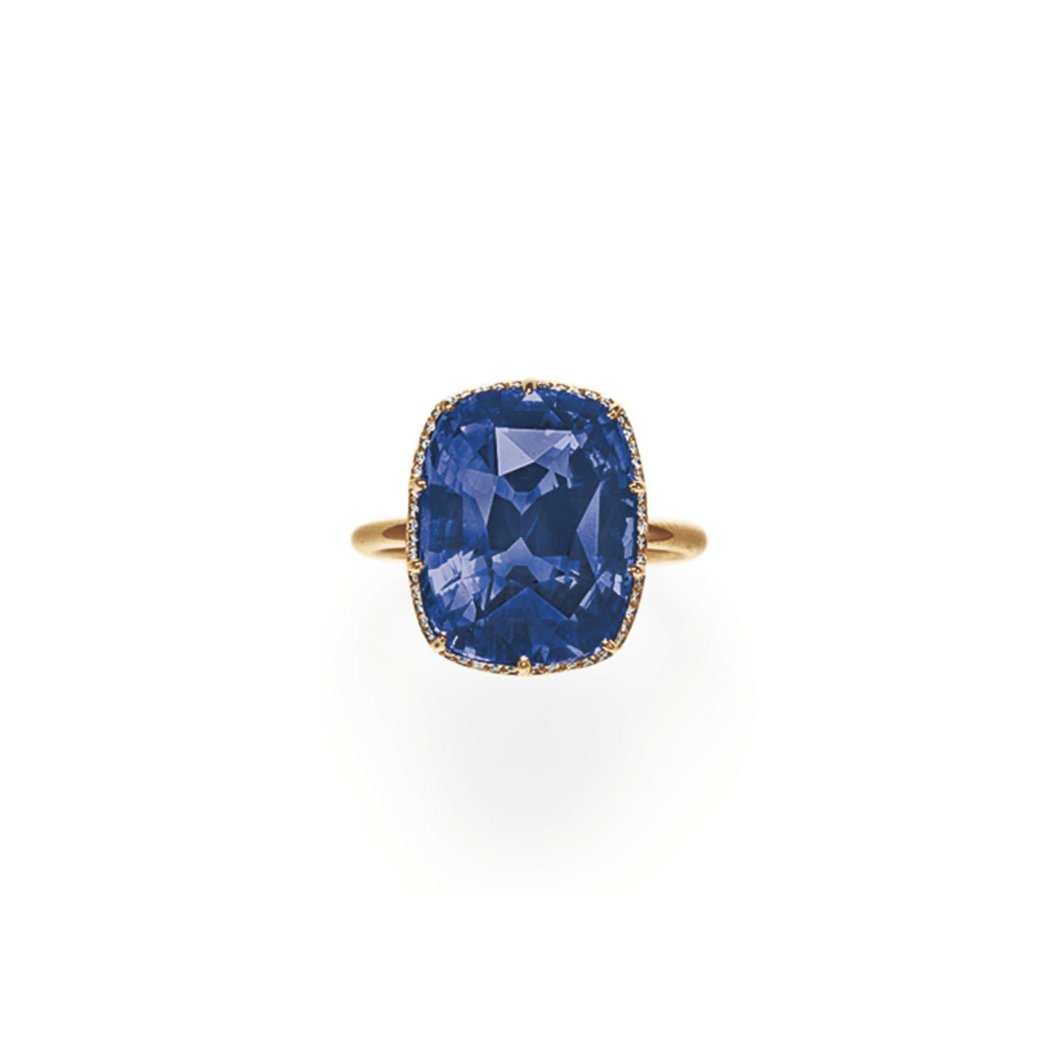 A COLOR-CHANGE SAPPHIRE AND DIAMOND RING