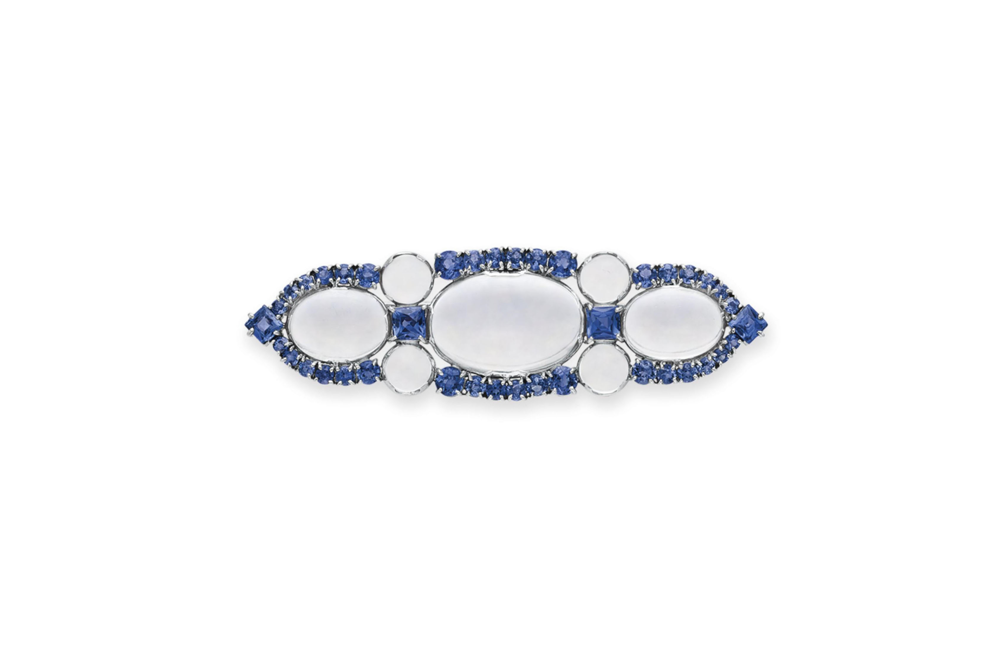 A MOONSTONE AND SAPPHIRE BROOC