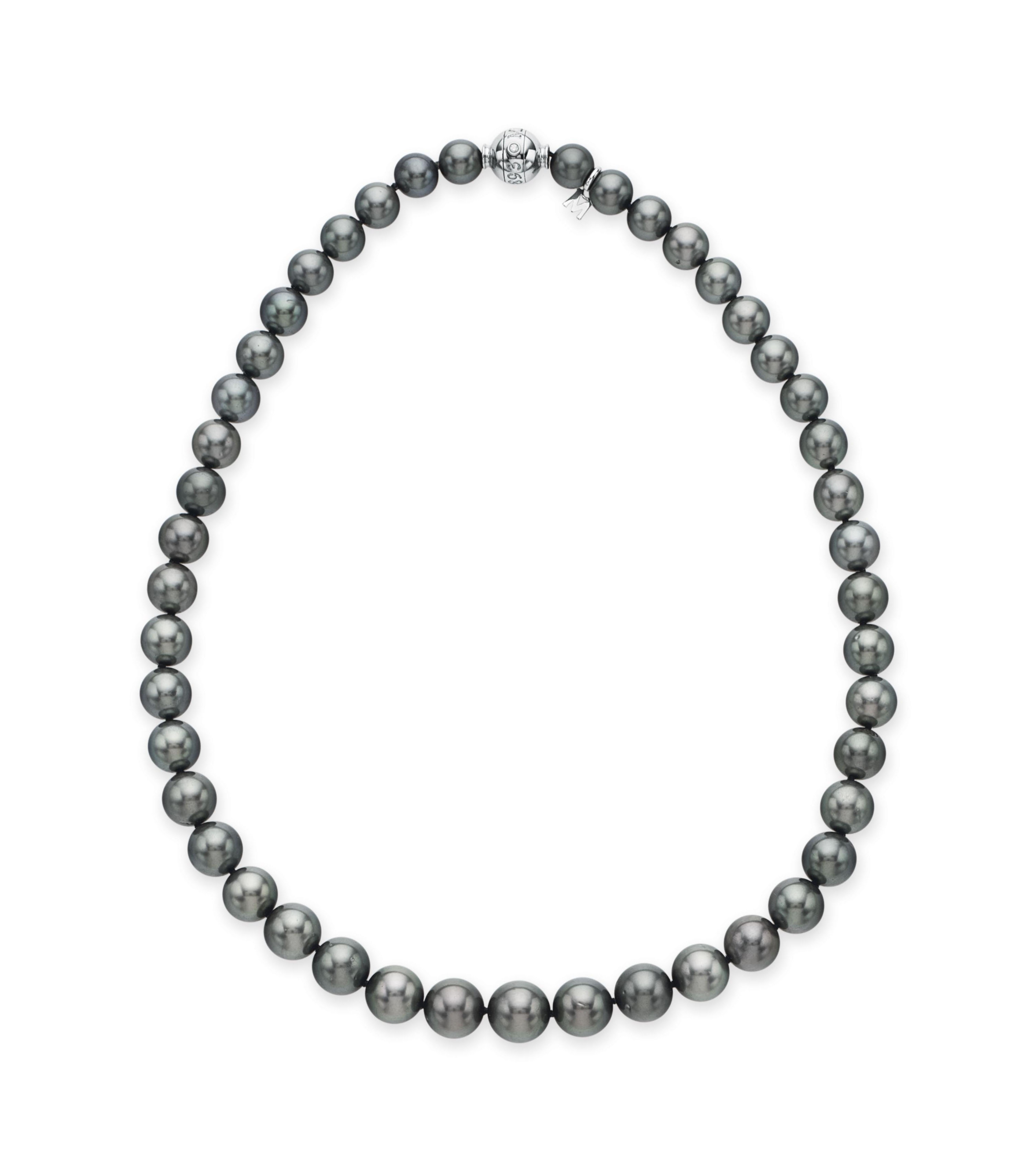 Mikimoto Pearls Necklace: A SINGLE-STRAND GRAY CULTURED PEARL NECKLACE, BY MIKIMOTO