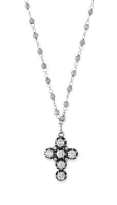 A DIAMOND CROSS PENDANT NECKLA
