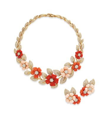 ~A SET OF CORAL AND DIAMOND