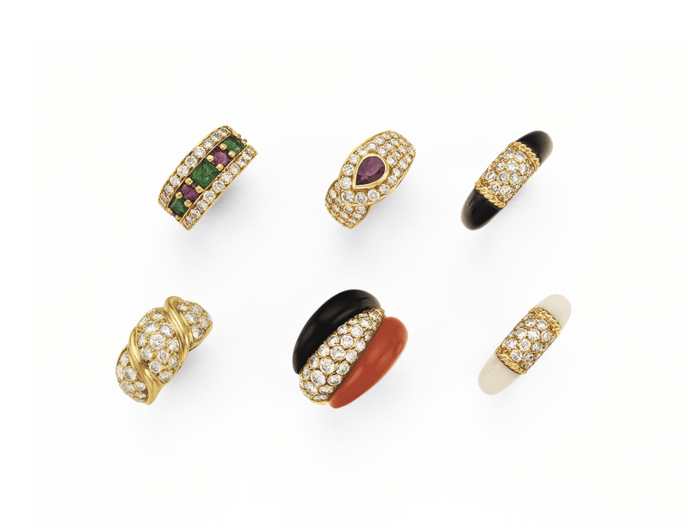 ~A GROUP OF SIX MULTI-GEM RING