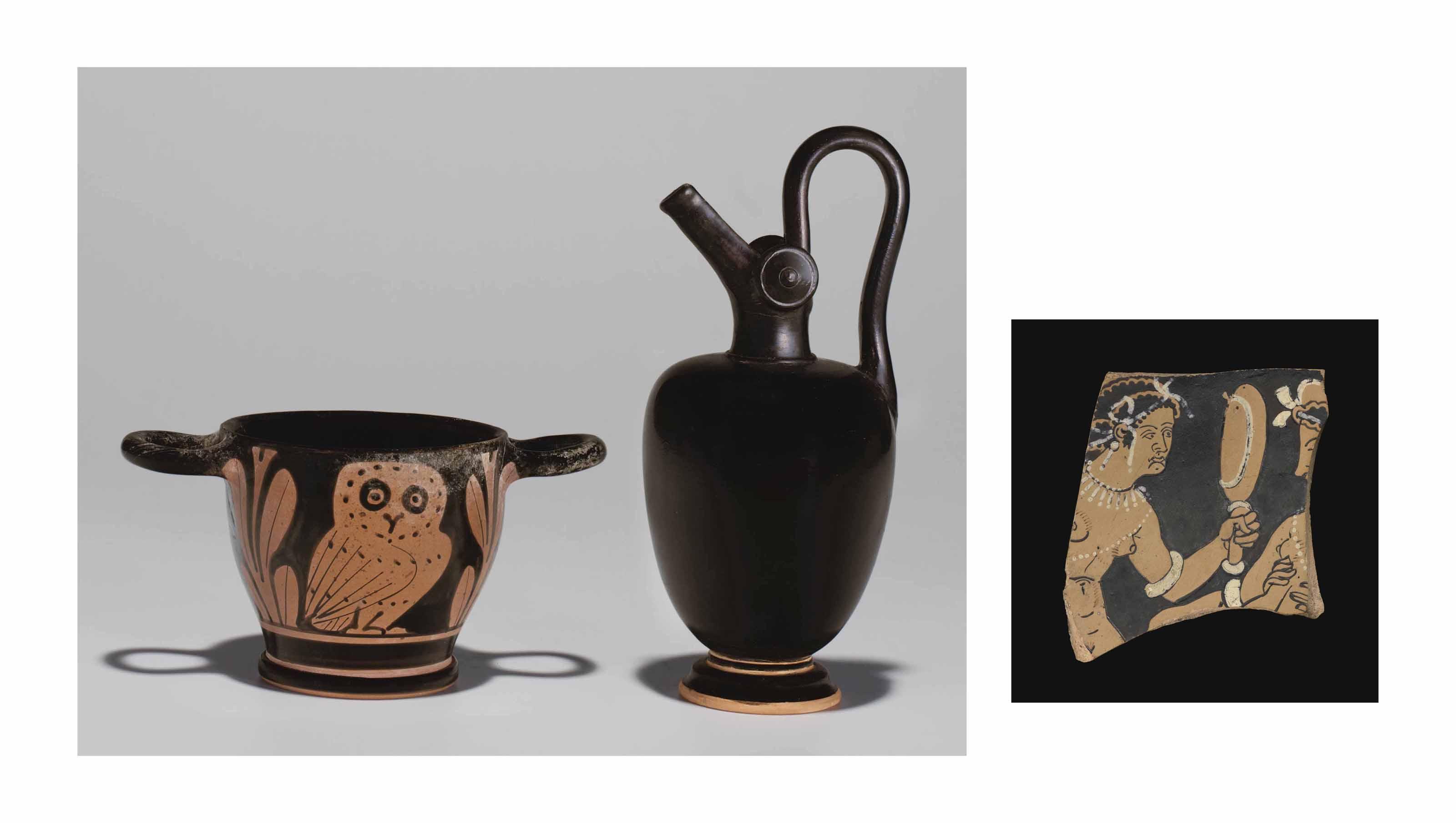 TWO GREEK POTTERY VESSELS