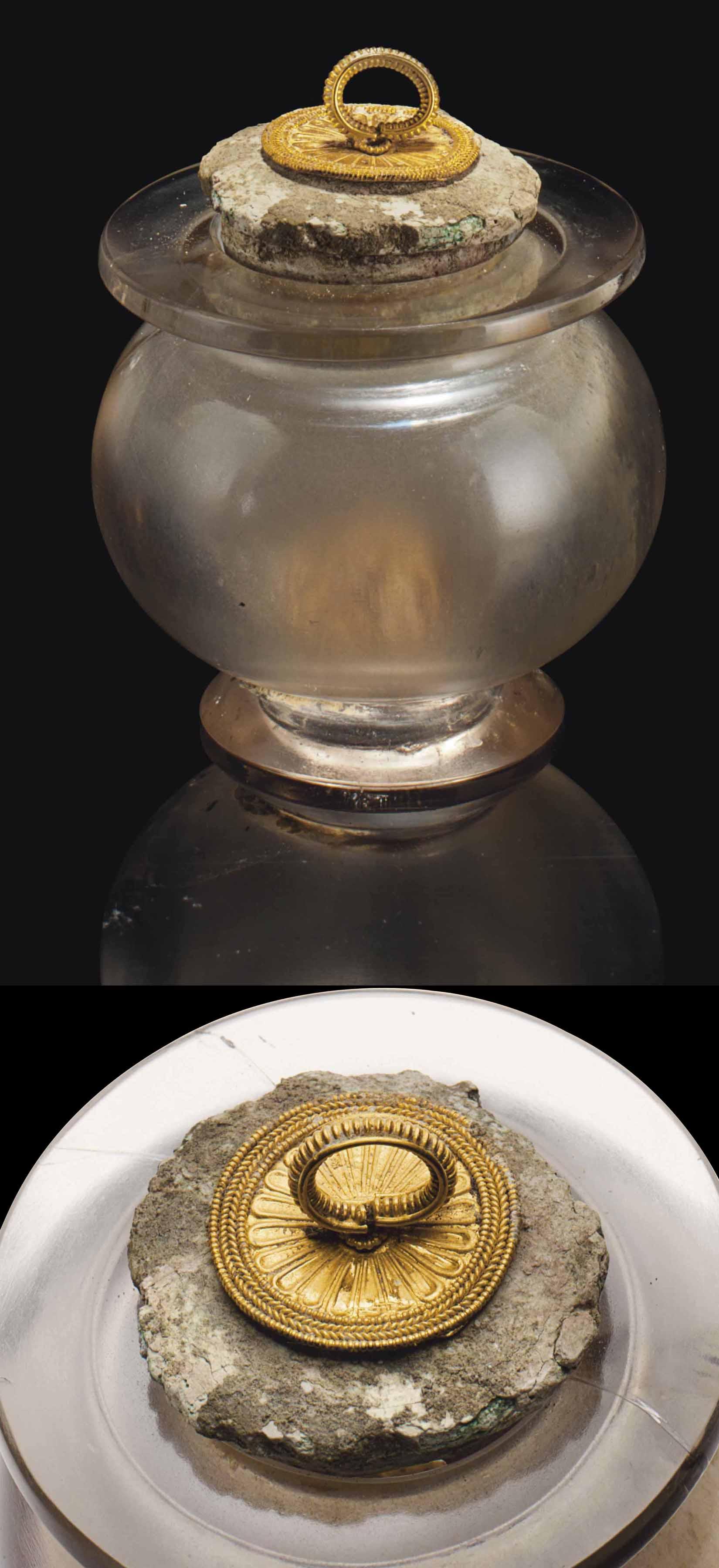 A GREEK ROCK CRYSTAL JAR WITH