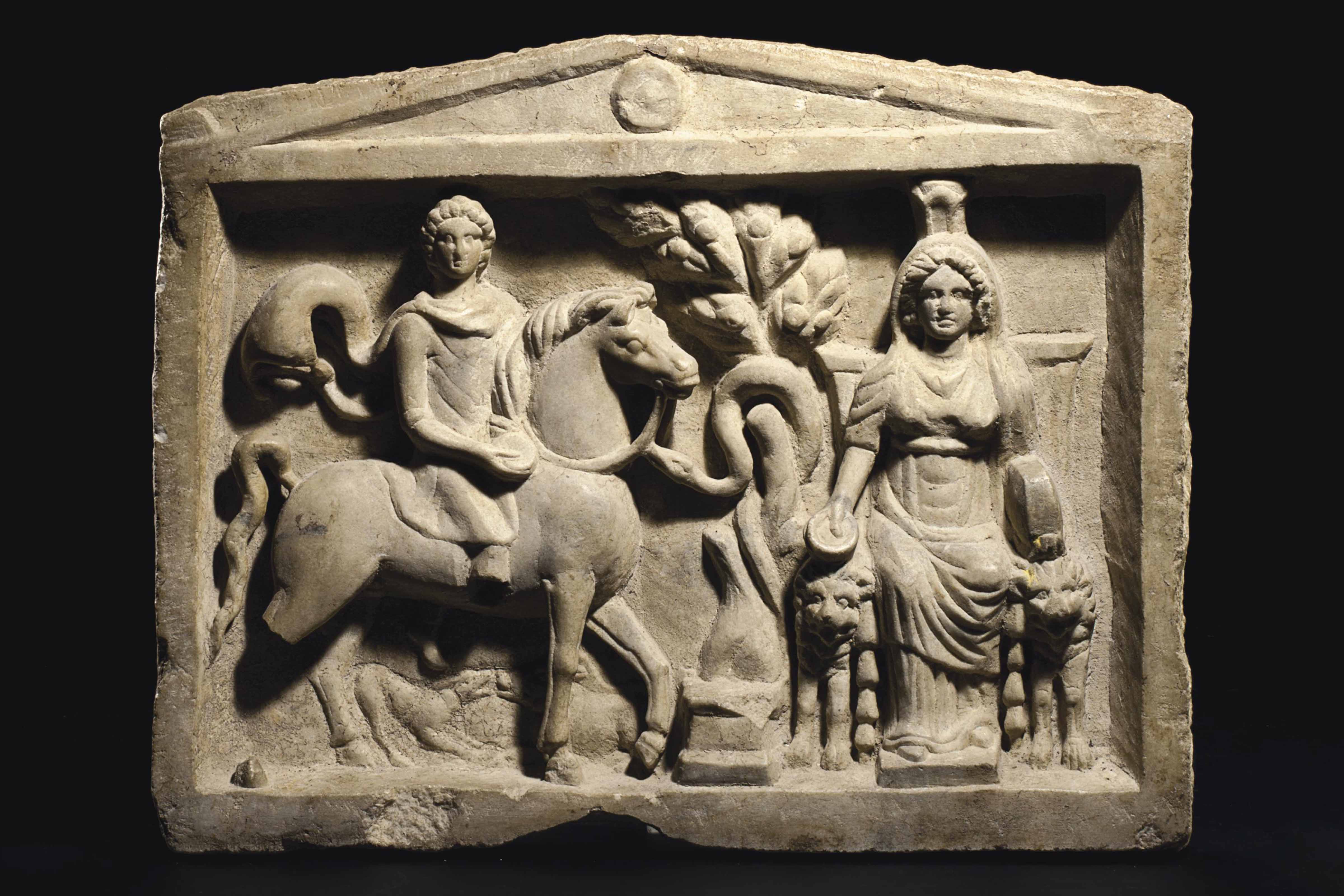 A GREEK MARBLE FUNERARY RELIEF
