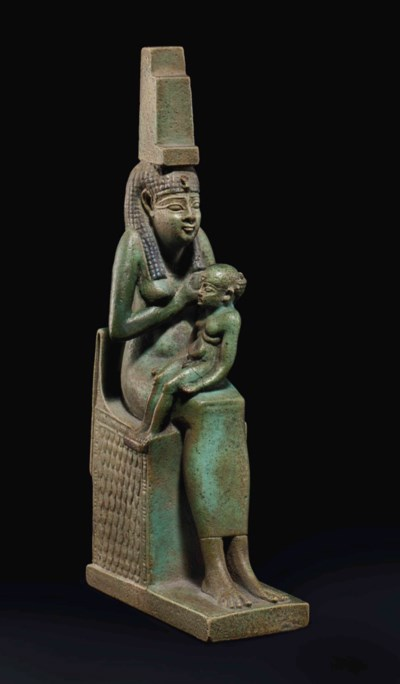 AN EGYPTIAN FAIENCE ISIS AND H