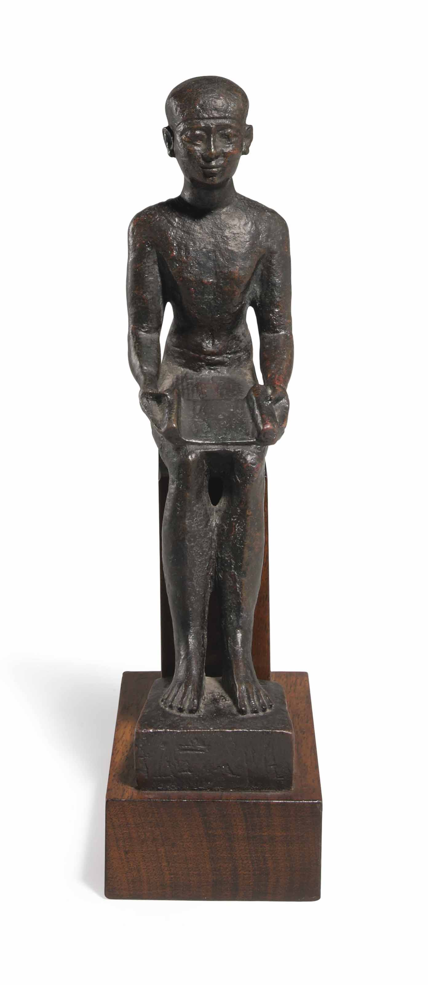 AN EGYPTIAN BRONZE IMHOTEP