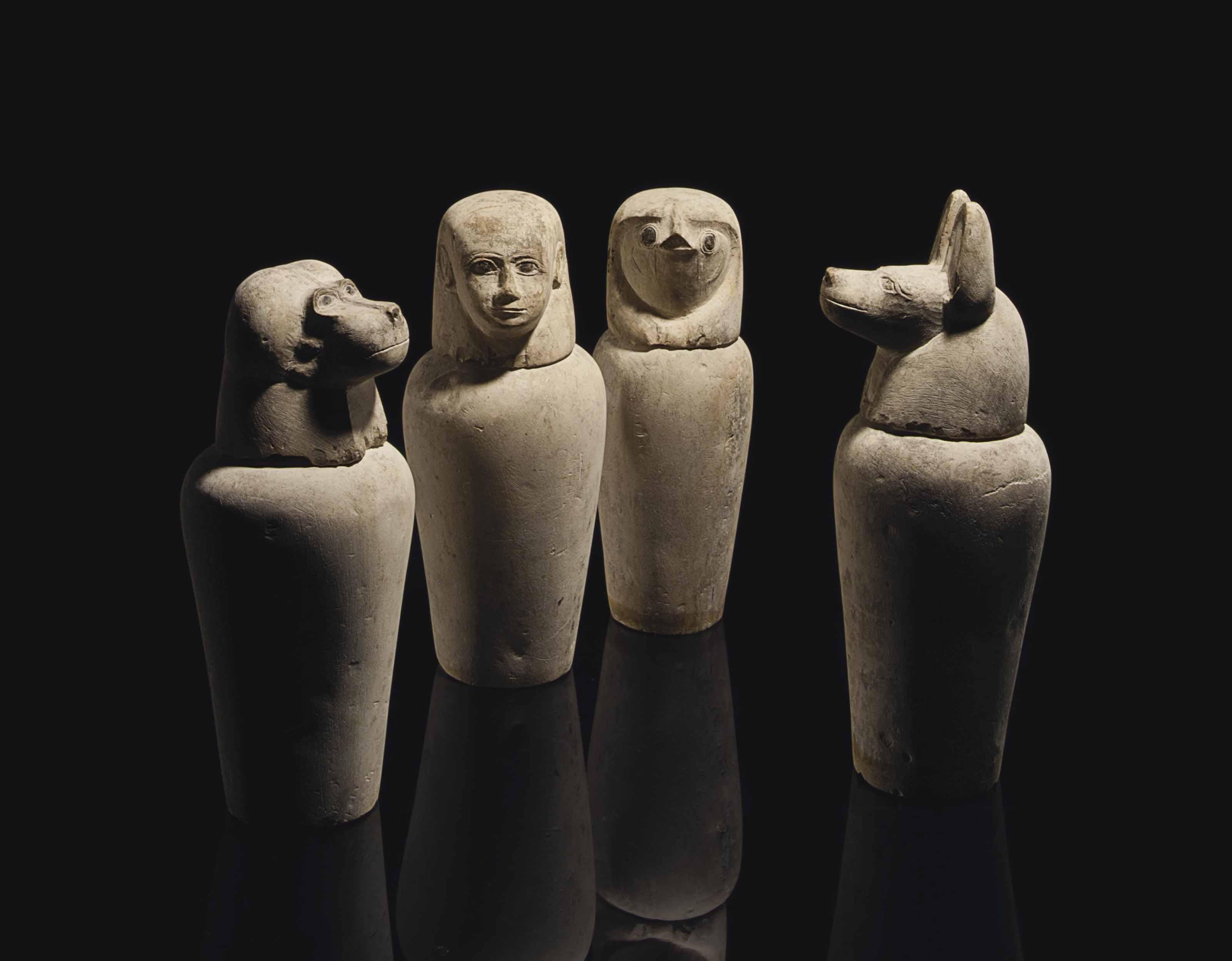 A SET OF FOUR EGYPTIAN LIMESTO