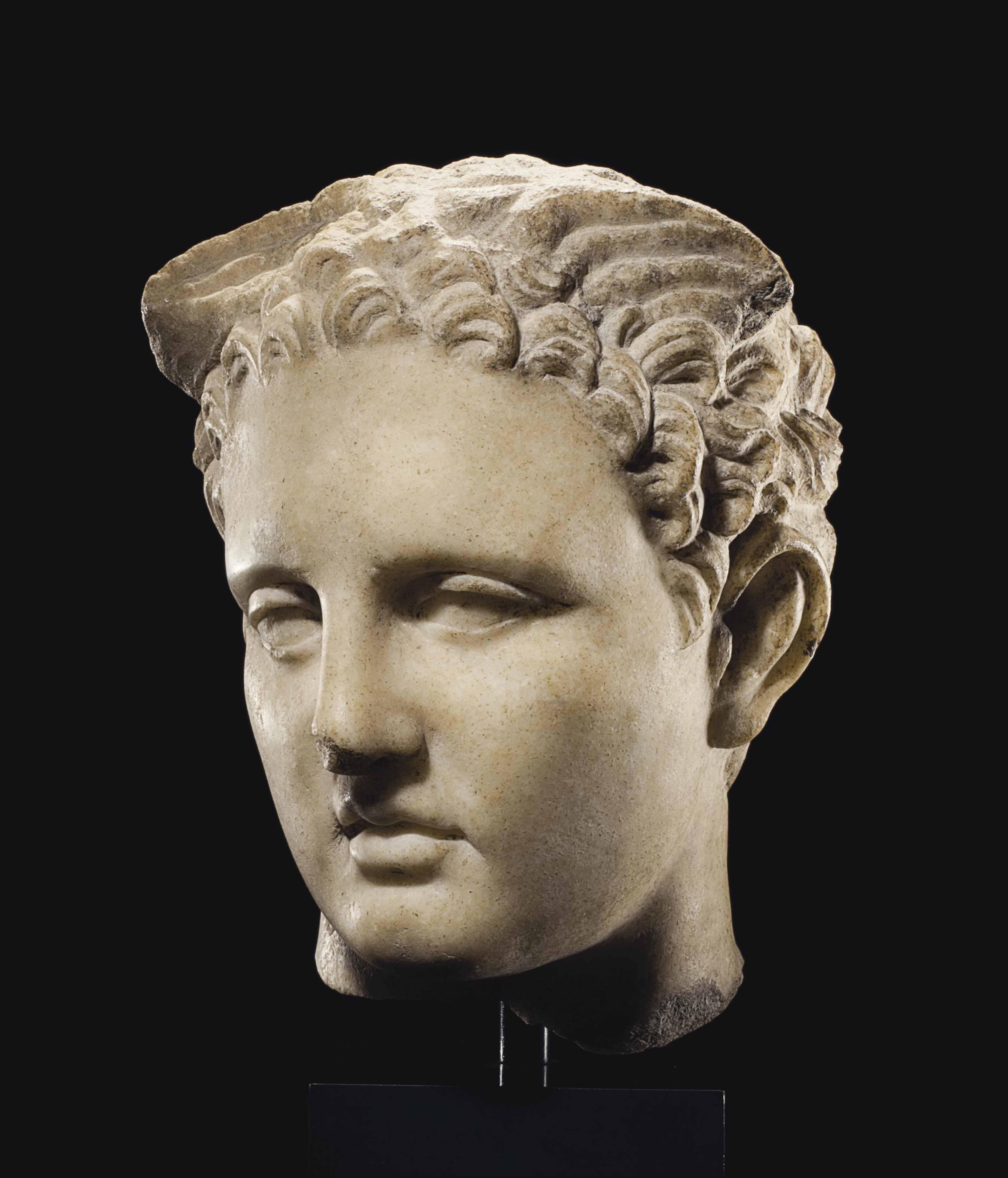 A ROMAN MARBLE HEAD OF MERCURY