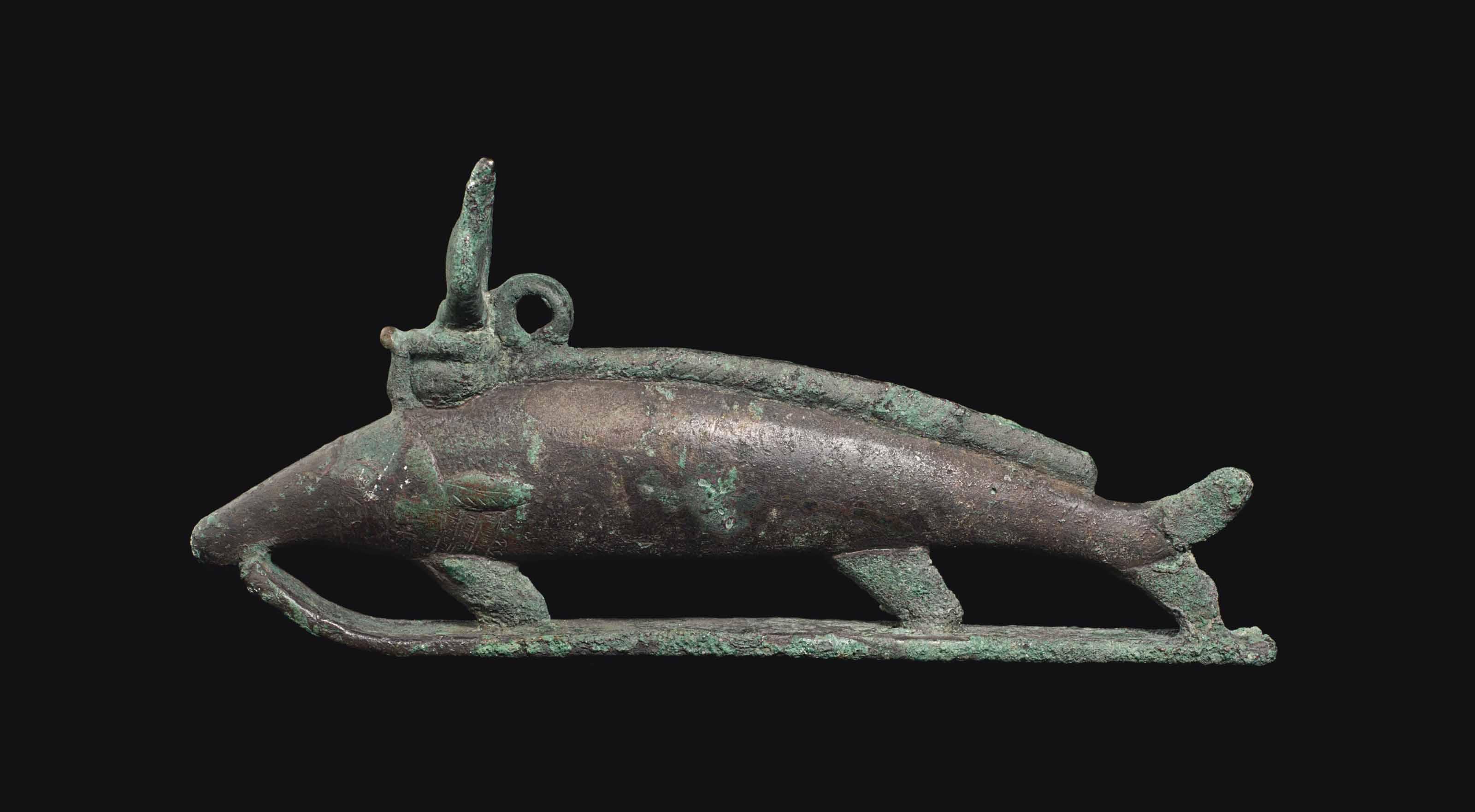 AN EGYPTIAN BRONZE OXYRYNCHOS