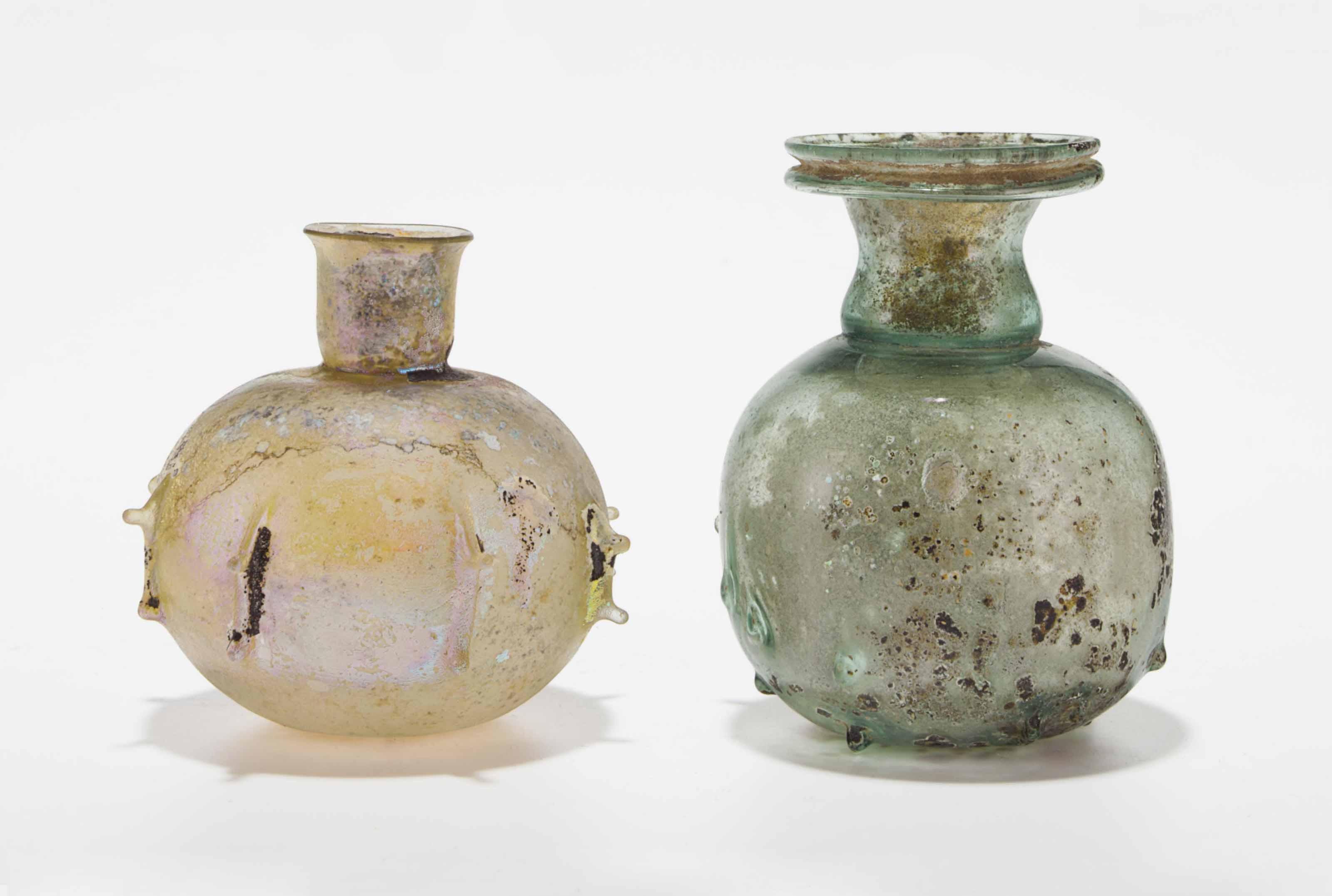 TWO ROMAN GLASS SPRINKLER FLAS