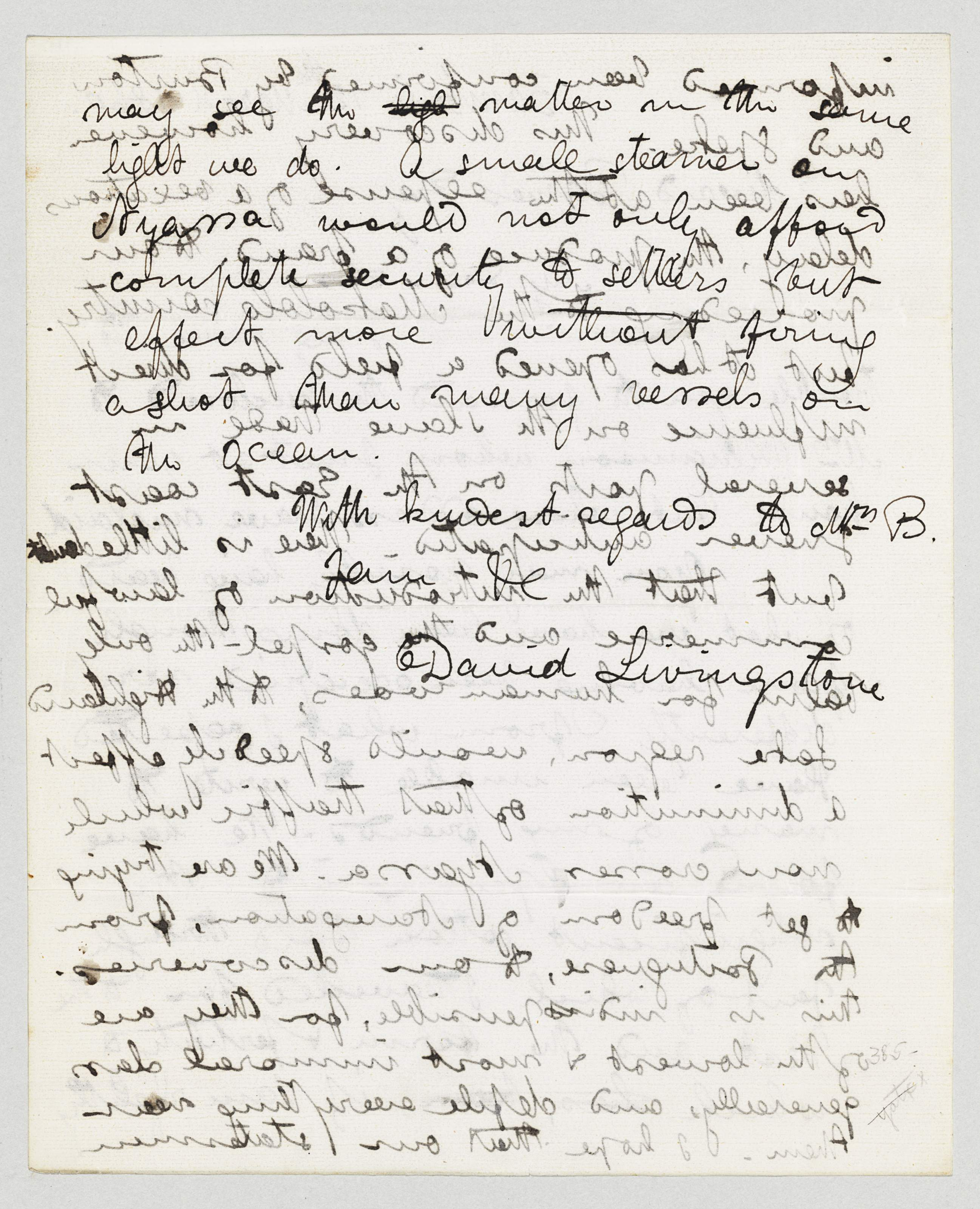 """LIVINGSTONE, David (1813-1873) Explorer. Autograph letter signed (""""David Livingstone"""") to Edward Baines (1800-1890), Zambesi, 12 March 1860. 3 pages, 4to, blank integral, show-through."""