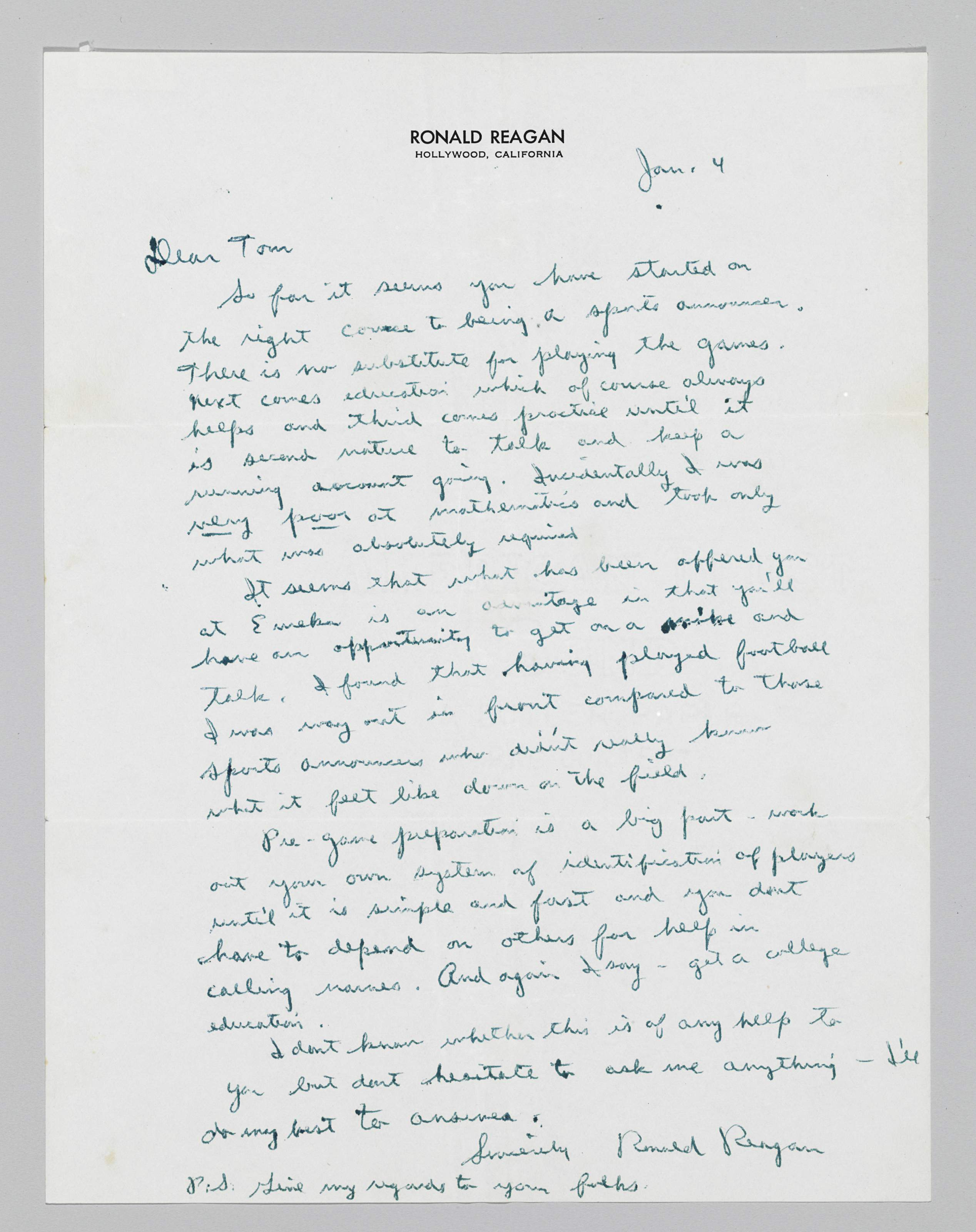 """REAGAN, Ronald (1911-2004). Autograph letter signed (""""Ronald Reagan"""") to an unidentified young man (Tom Tweddale), Hollywood, Cal., 4 January [1952]. 1 full page, 4to, in fountain-pen on imprinted stationery ."""