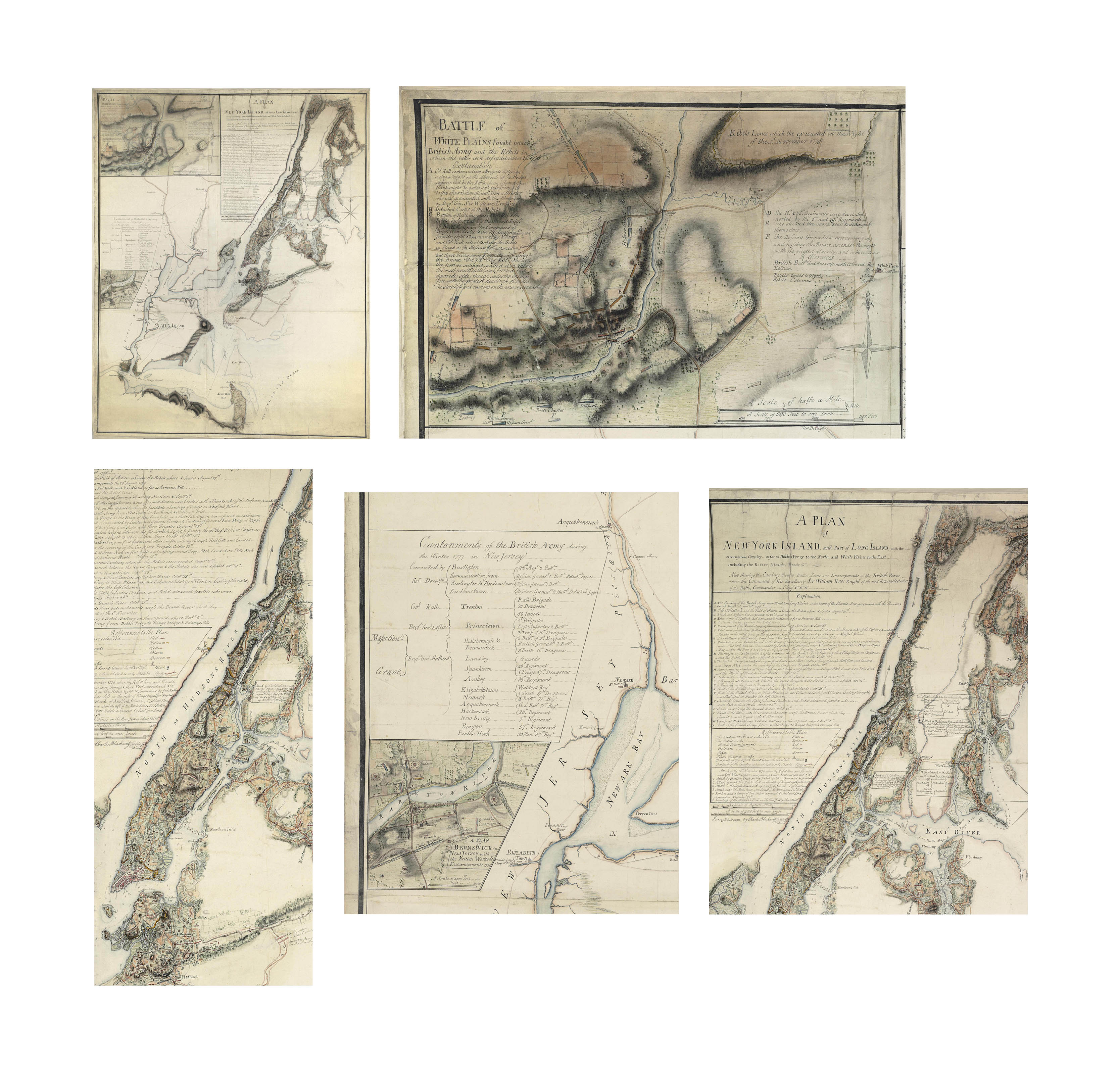 "[REVOLUTIONARY WAR]. BLASKOWITZ, Charles (c.1743-1823). ""A Plan of New York Island, and Part of Long Island, with the circumjacent Country - as far as Dobbs's Ferry to the North, and White Plains to the East including the Rivers, Islands, Roads &ca - Also shewing the Landing Routes, battles, Lines and Encampments of the British Forces under the Command of His Excellency Sir William Howe Knight of the most Honorable Order of the Bath, Commander in Chief &ca &ca &ca.,"" with inset maps: ""Battle of White Plains fought between British Army and the Rebels in which the latter were defeated October 28th 1776"" and ""A Plan of Brunswick New Jersey with the British Works & Encampments. 1777"". Signed: ""Survey'd & Drawn by Charles Blaskowitz Capt of the Guides & Pioneers."" [New York, 1777]."
