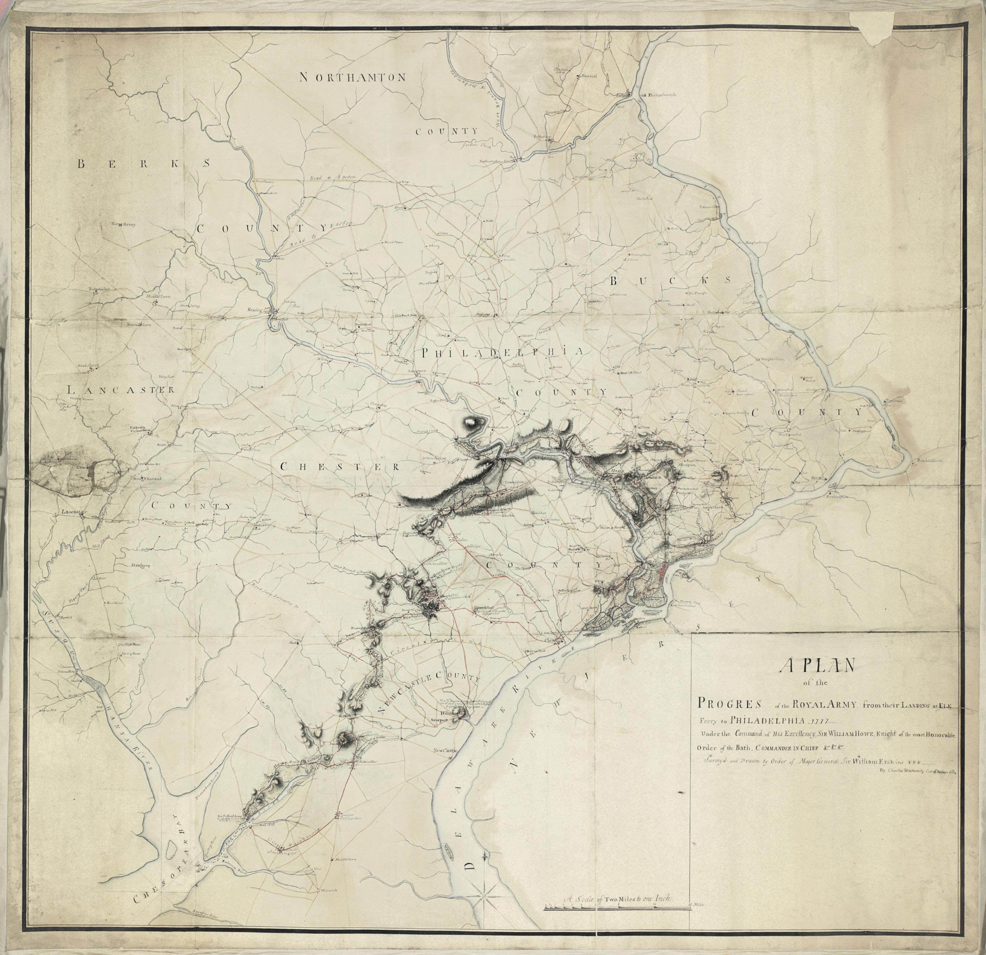 """[REVOLUTIONARY WAR]. BLASKOWITZ, Charles (c.1743-1823), """"A Plan of the Progres of the Royal Army from their Landing at Elk Ferry to Philadelphia 1777 Under the Command of His Excellency, Sir William Howe Knight of the most Honorable Order of the Bath, Commander in Chief &ca &ca &ca Surveyed and Drawn by Order of Major General Sir William Erskine By Charles Blaskowitz Capt of the Corps Guides"""". [Philadelphia, 1778]."""