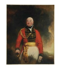 Portrait of Lieutenant General Daniel Burr (1749-1828), standing three-quarter length, in a red uniform