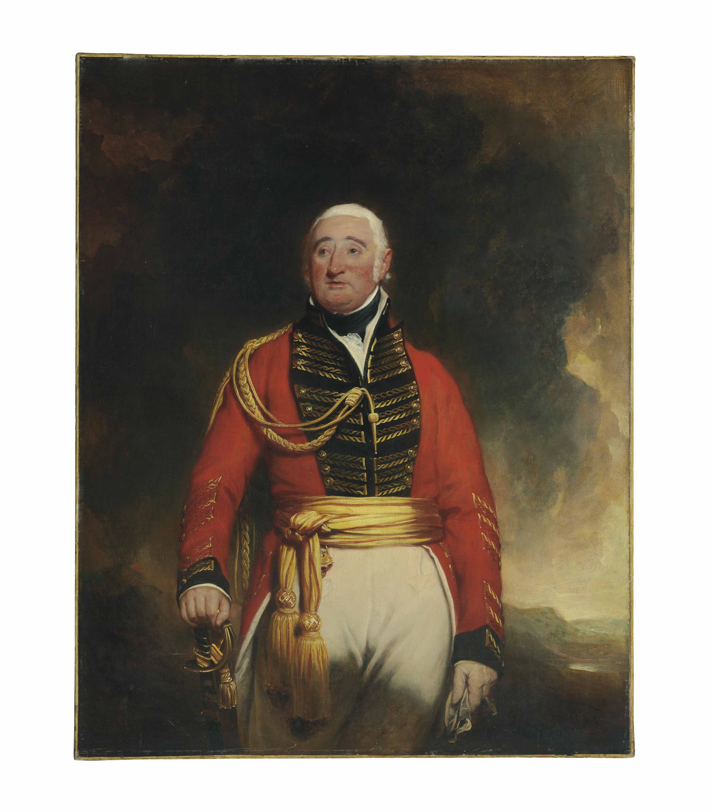 Portrait of Lieutenant General Daniel Burr (1749-1828), standing three-quarter length, in a red uniform