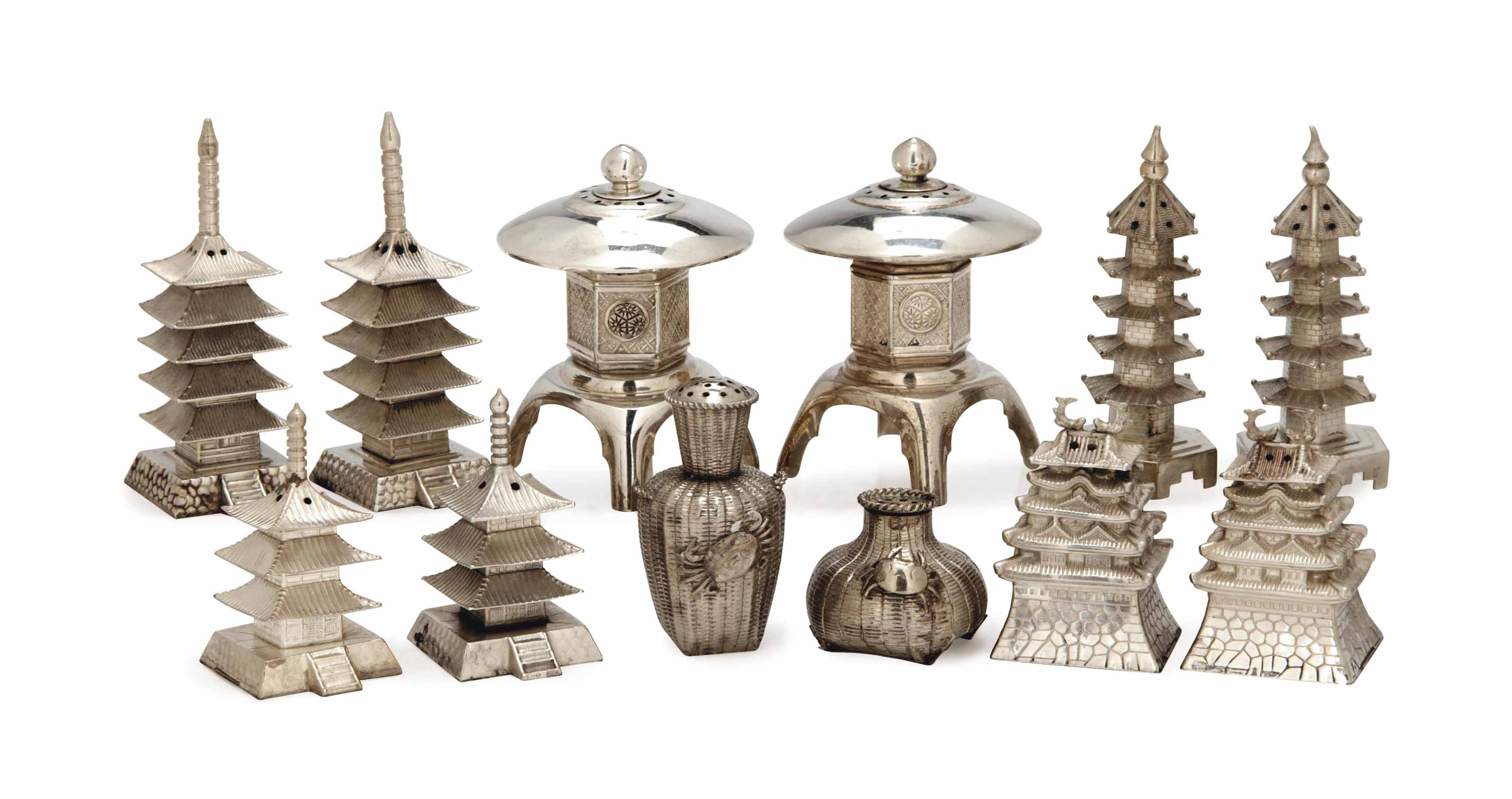 FOUR PAIRS OF SILVER CASTERS I